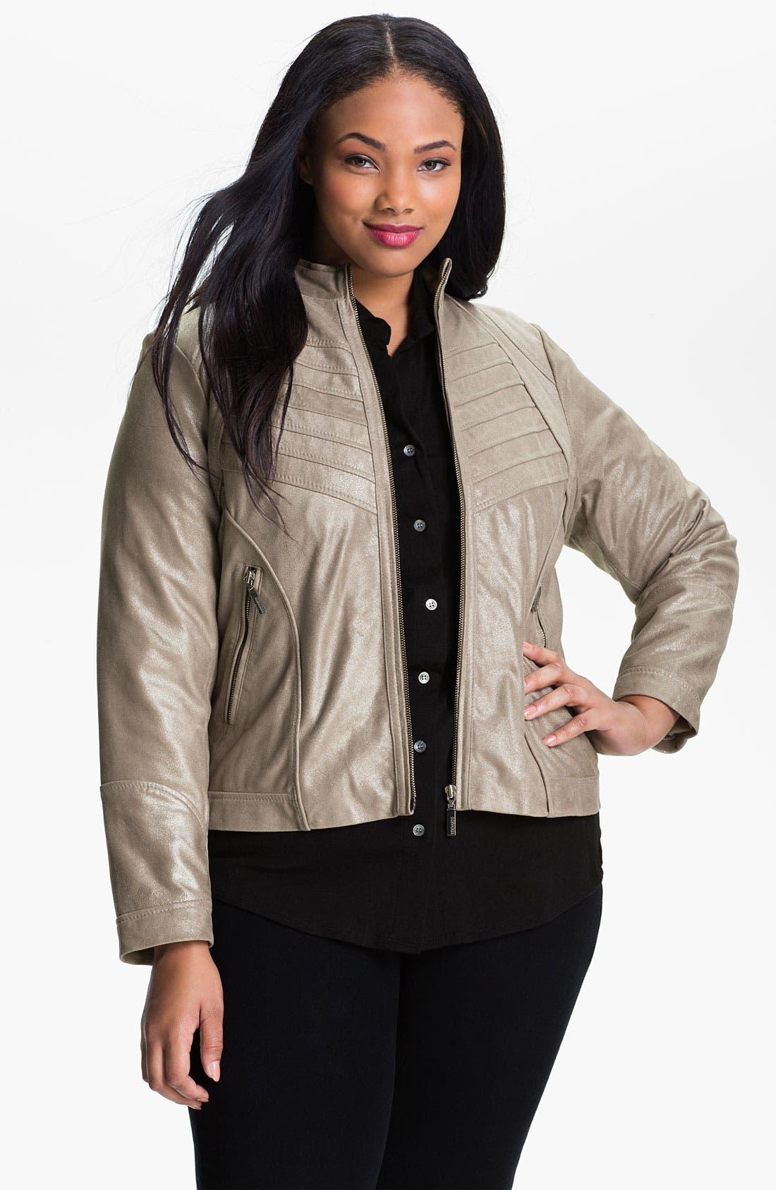 Main Image - Bernardo Metallic Leather Jacket (Plus)