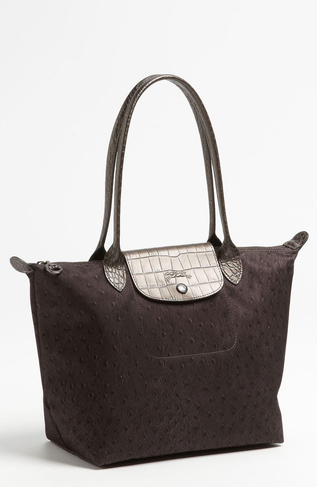 Main Image - Longchamp 'Le Pliage Ostrich' Small Shoulder Tote