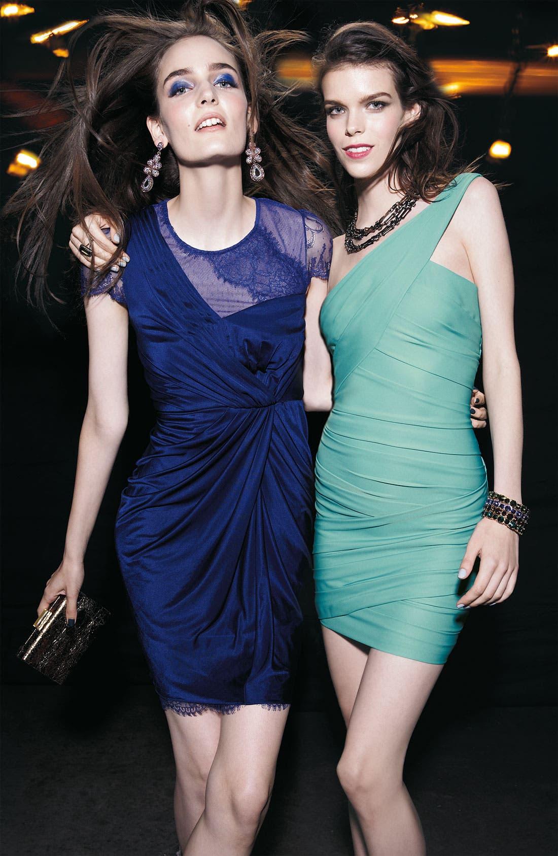 Alternate Image 4  - BCBGMAXAZRIA Lace Sleeve Gathered Jersey Dress