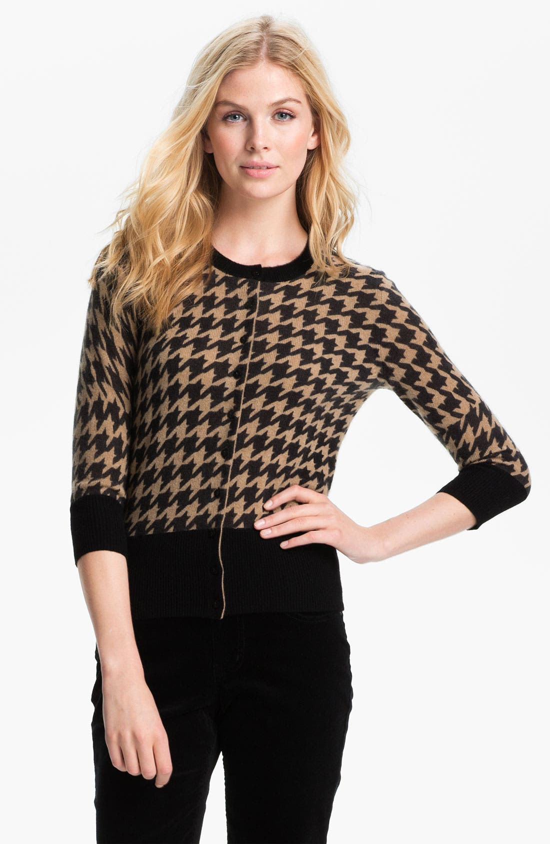 Alternate Image 1 Selected - Only Mine Houndstooth Cashmere Cardigan (Petite)