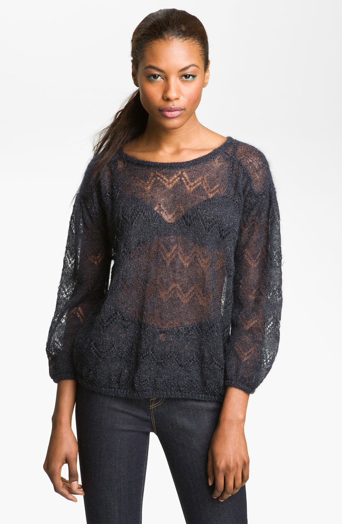 Alternate Image 1 Selected - MARC BY MARC JACOBS 'Milly' Sheer Keyhole Sweater