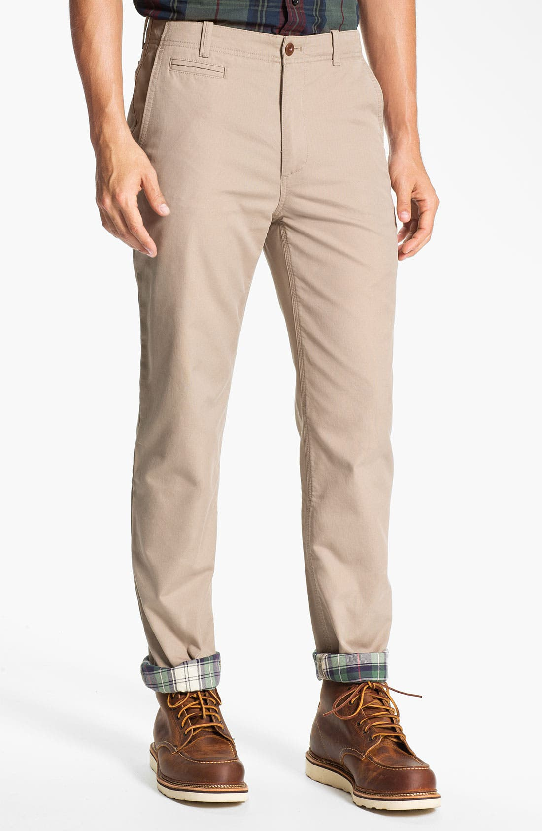 Main Image - Brooks Brothers Flannel Lined Flat Front Chinos