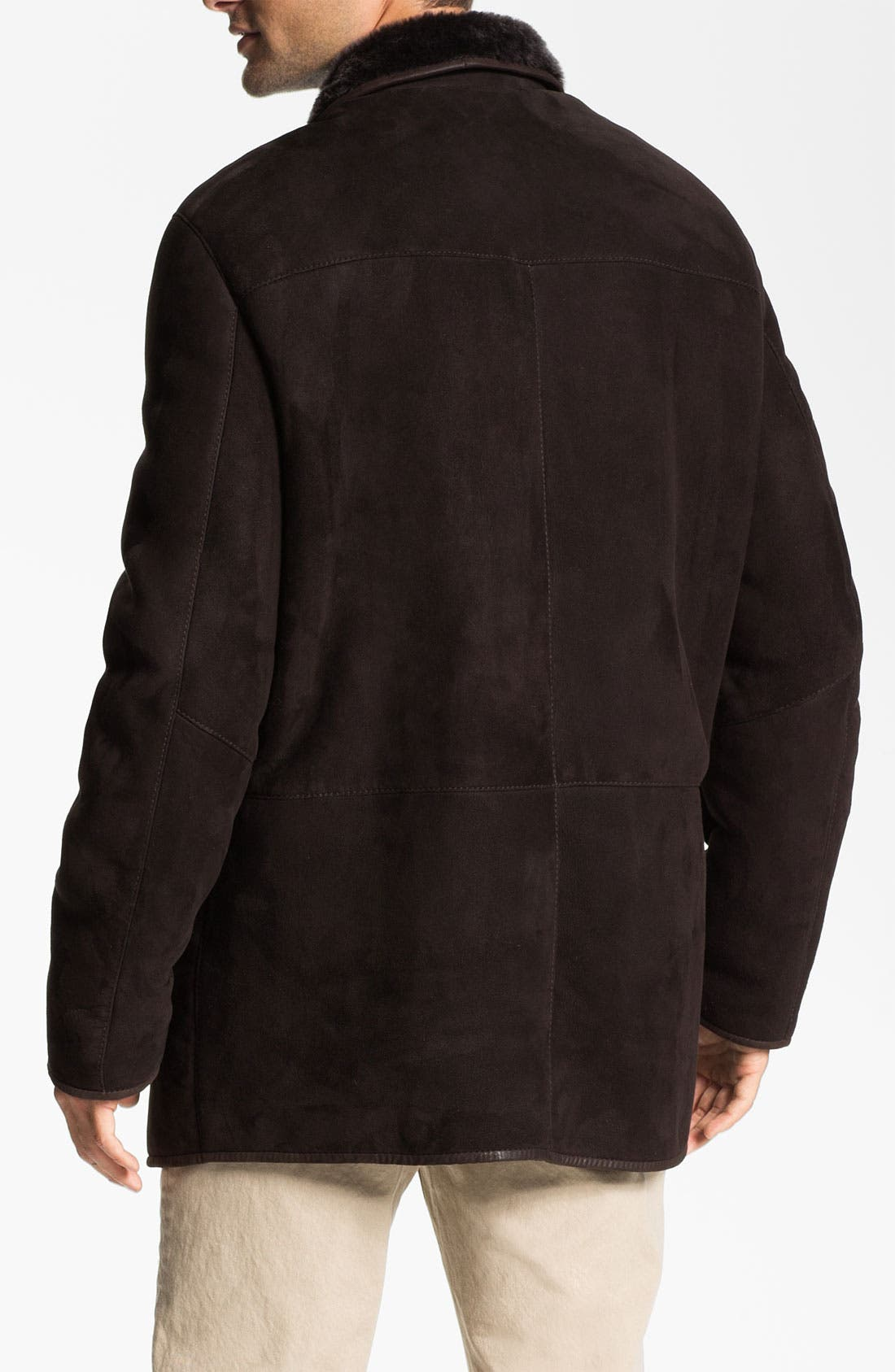 Alternate Image 2  - Robert Talbott Suede Coat with Genuine Shearling Lining
