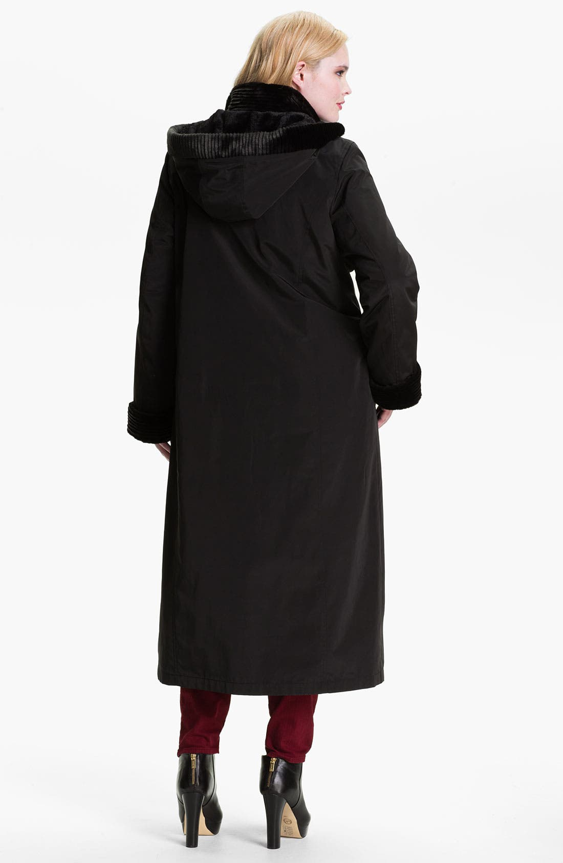 Alternate Image 2  - Gallery Long Storm Coat with Faux Fur Lining (Plus)