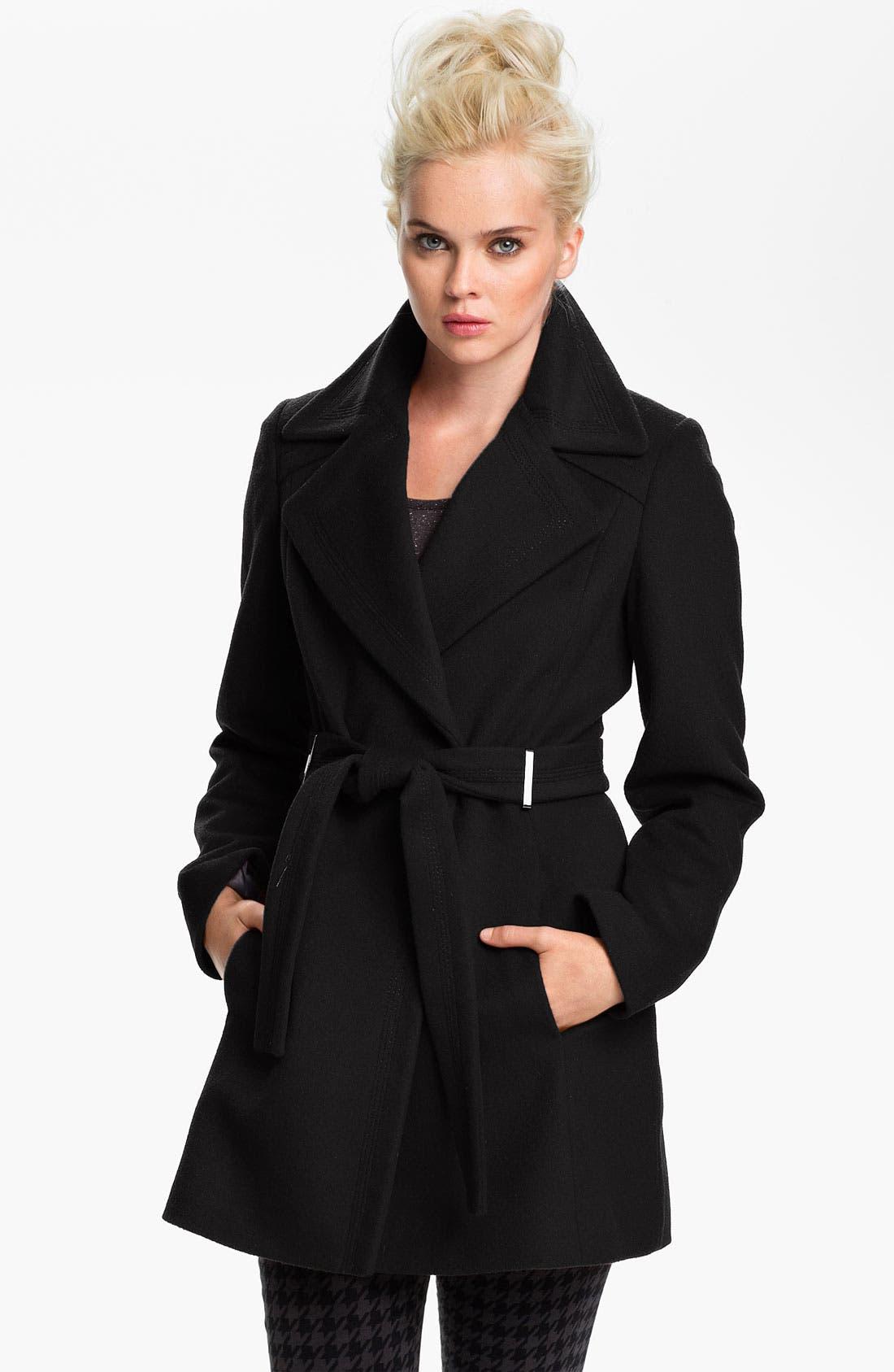 Main Image - Calvin Klein Belted Wrap Coat