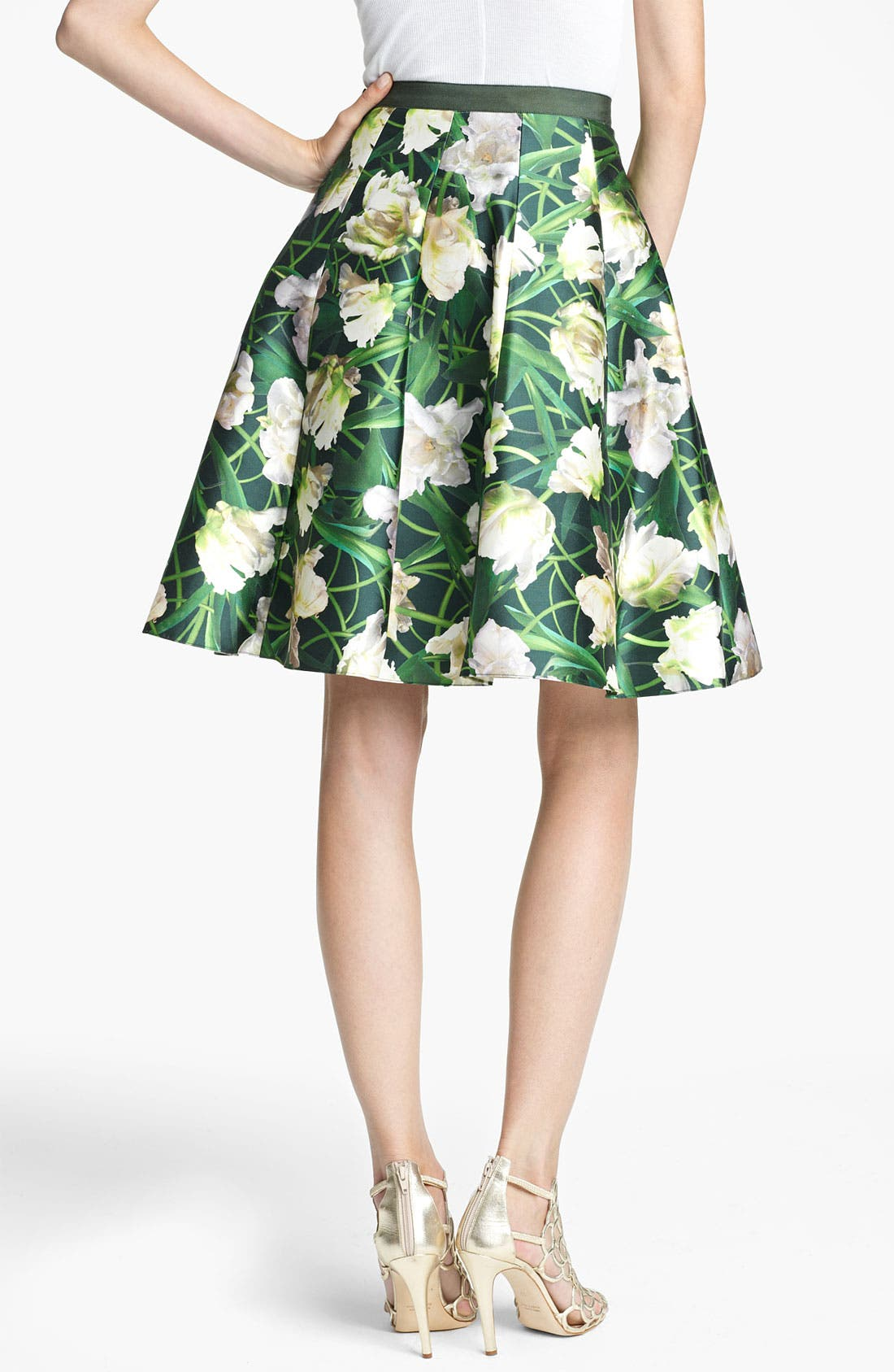 Alternate Image 2  - Oscar de la Renta Floral Print Swing Skirt