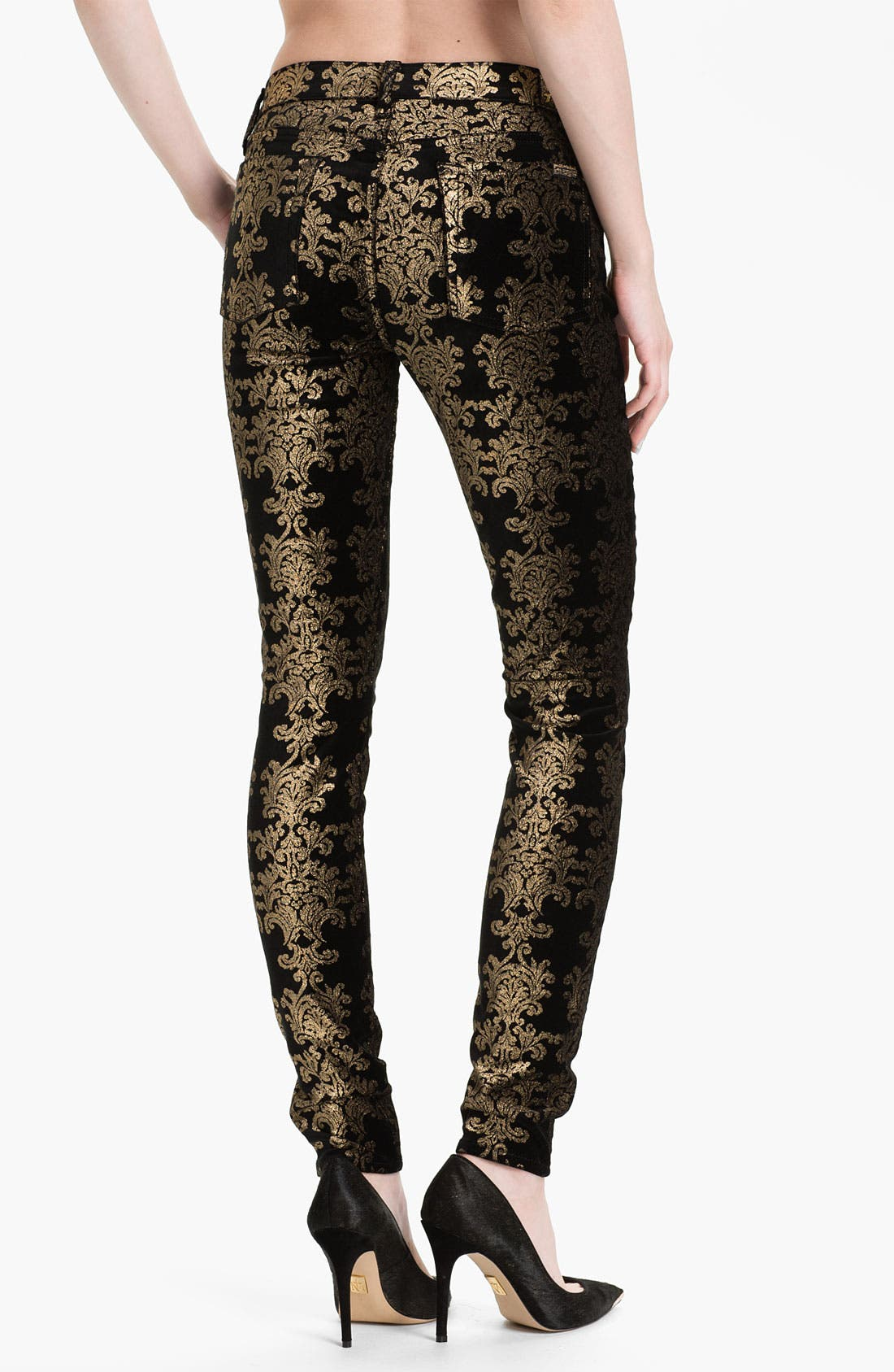 Alternate Image 2  - 7 For All Mankind® 'The Skinny' Foil Print Jeans (Black/Gold Foil)