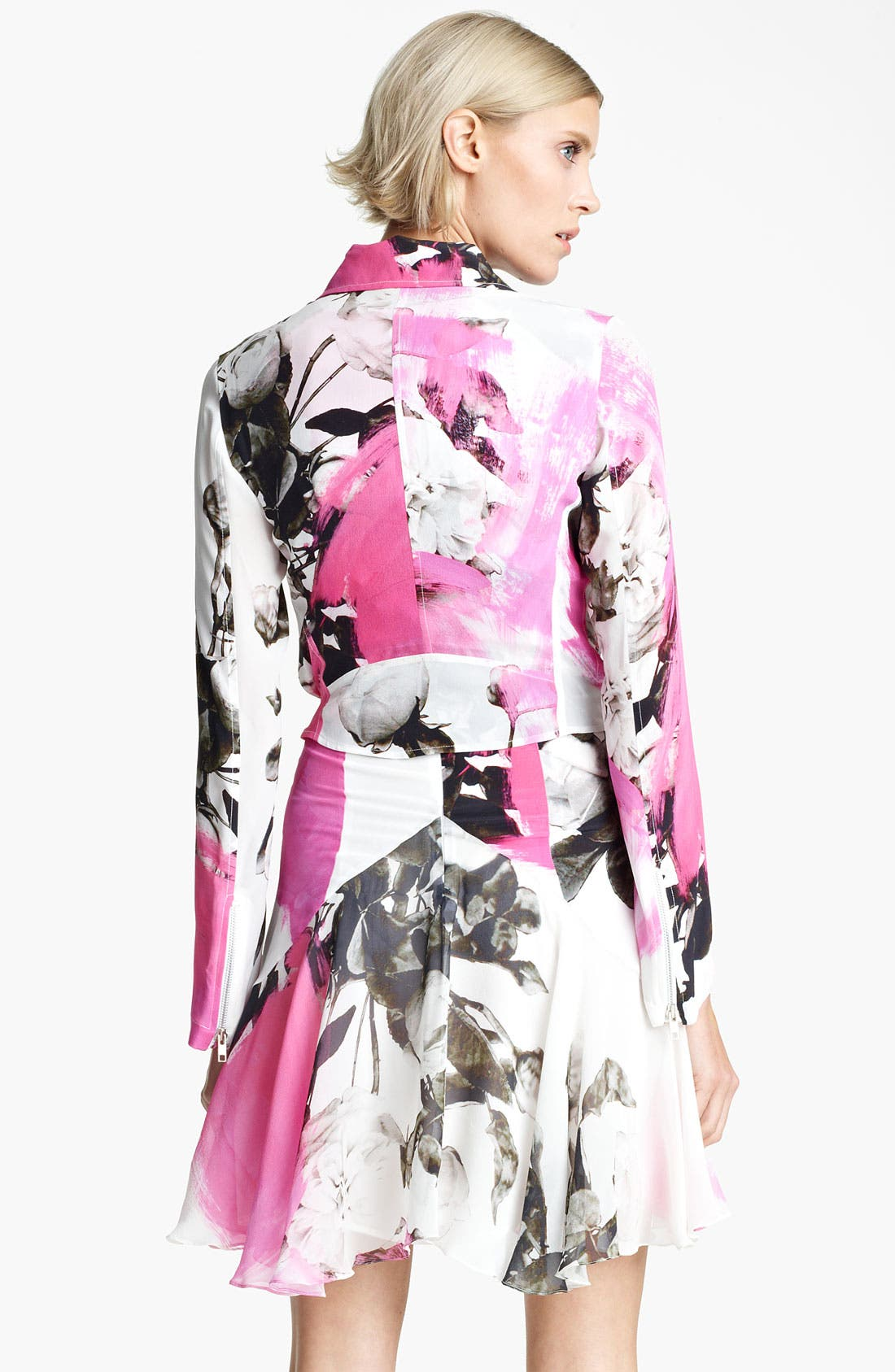 Alternate Image 2  - Christopher Kane Rose Print Biker Jacket
