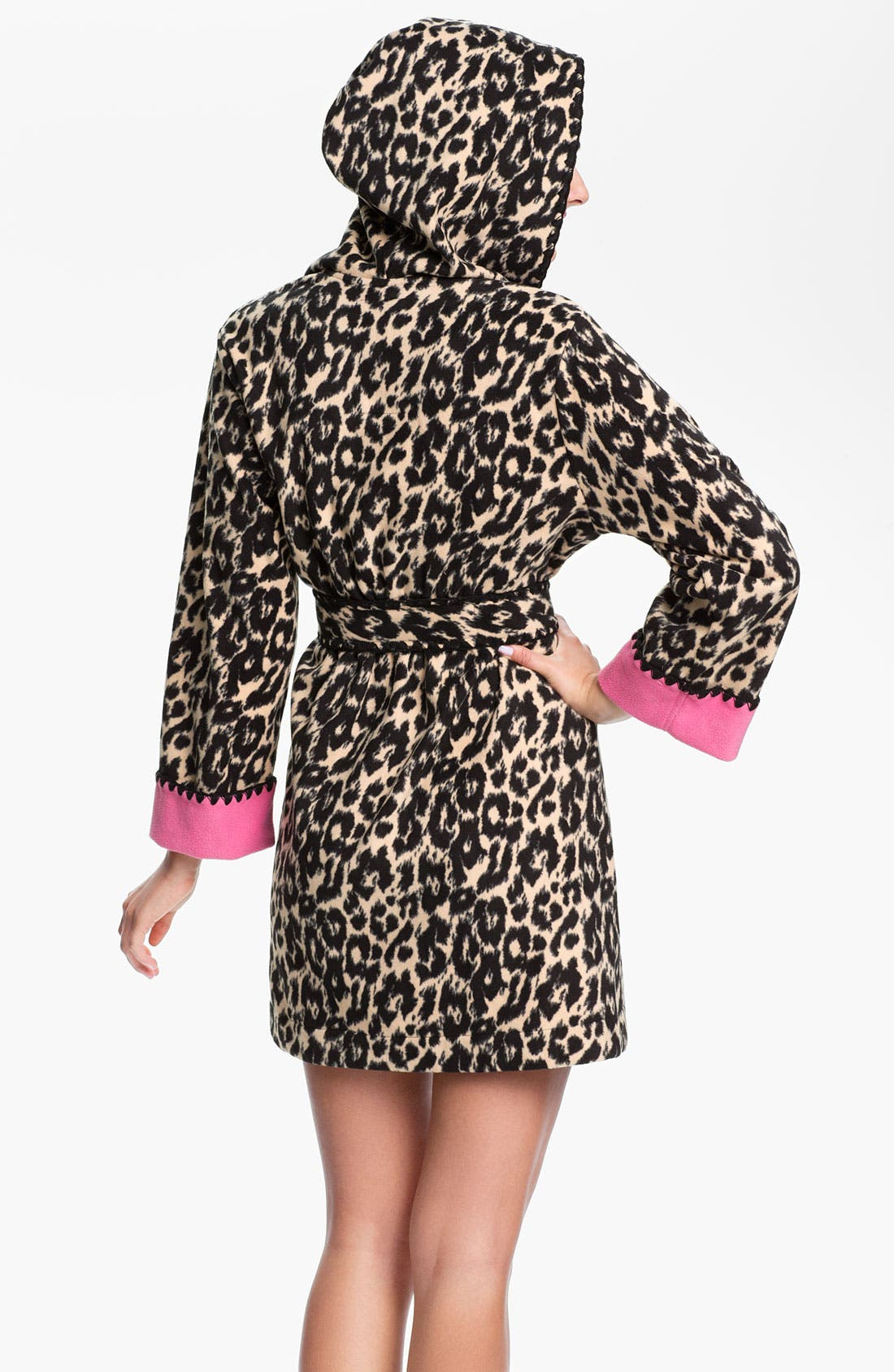 Alternate Image 2  - Betsey Johnson Hooded Microfleece Robe
