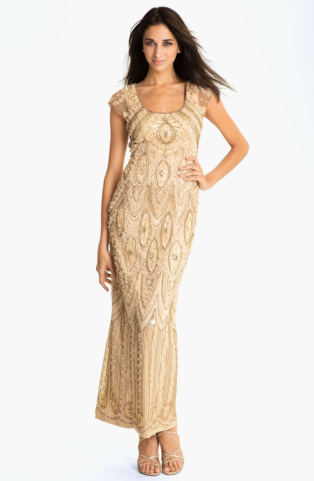 Alternate Image 1 Selected - Sue Wong Embellished Sheer Back Mesh Gown