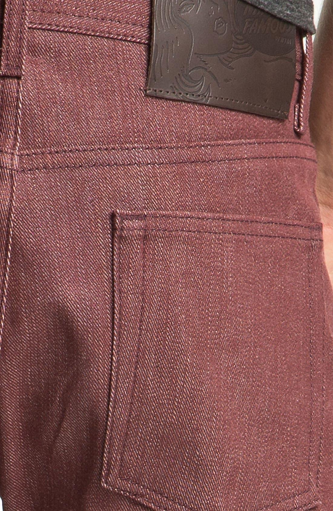 Alternate Image 4  - Naked & Famous Denim 'Weird Guy' Slim Tapered Leg Selvedge Jeans (Pomegranate Red)