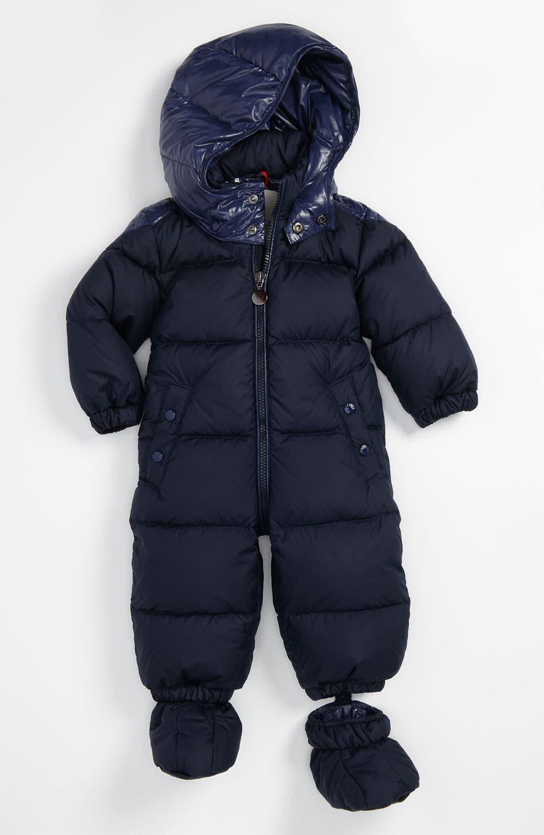 Main Image - Moncler 'Amandes' Puffer Snowsuit (Infant)