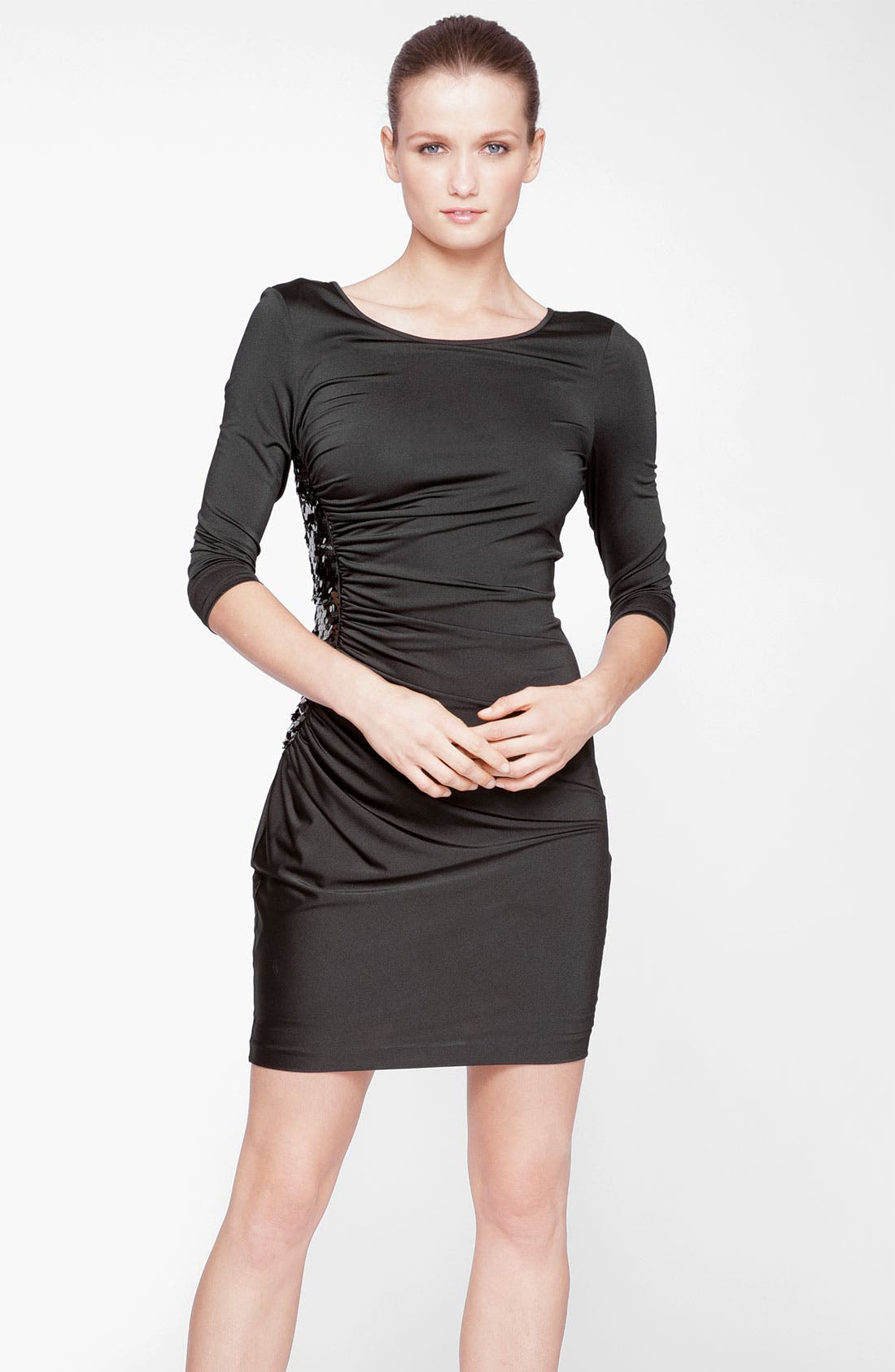 Main Image - Marc New York by Andrew Marc Ruched Sequin Side Sheath Dress