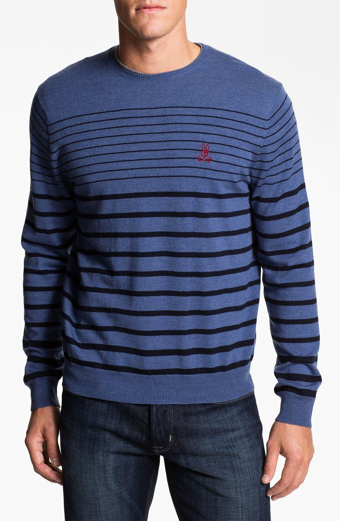 Main Image - Psycho Bunny Stripe Merino Wool Sweater