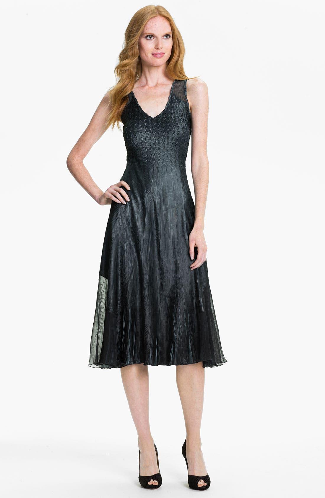 Alternate Image 2  - Komarov V-Neck Textured Charmeuse Dress & Chiffon Jacket