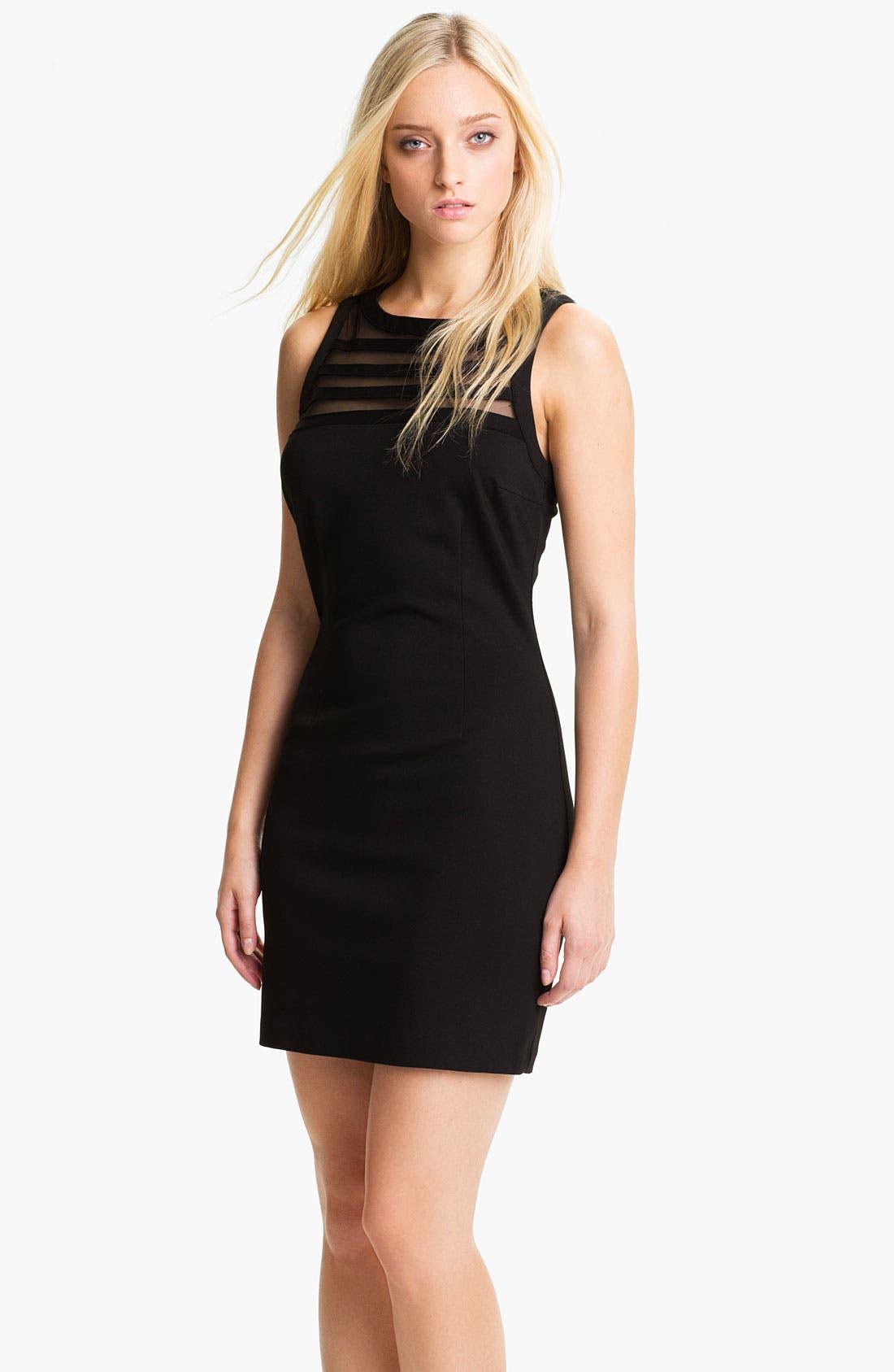 Main Image - BB Dakota 'Sorina' Illusion Yoke Ponte Sheath Dress
