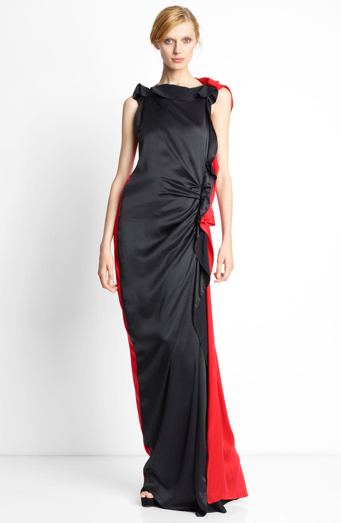 Main Image - Lanvin Side Ruffle Bicolor Silk Gown