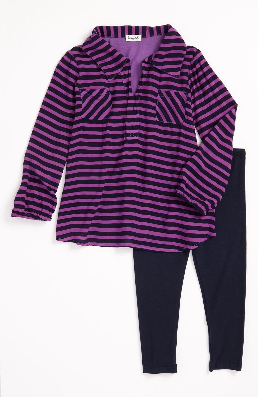 Main Image - Splendid 'Famous' Stripe Tunic & Leggings (Little Girls)