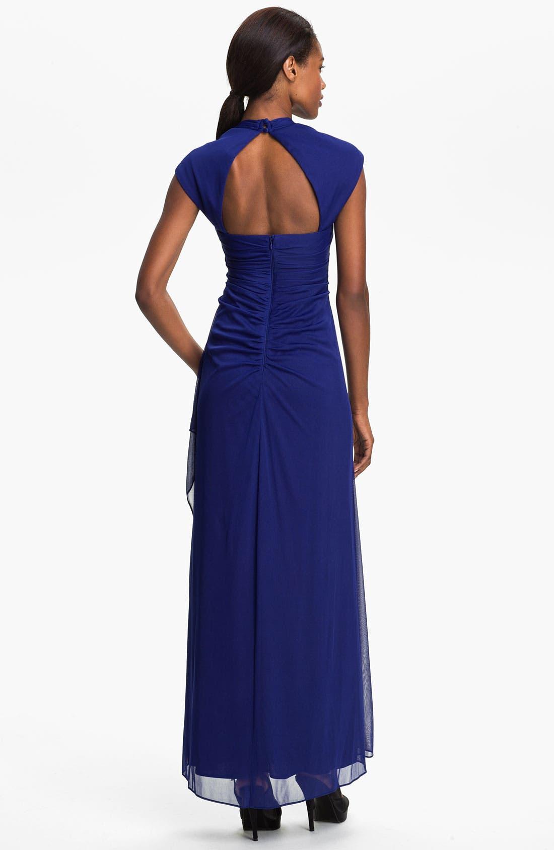 Alternate Image 2  - Xscape Cap Sleeve Draped Mesh Gown