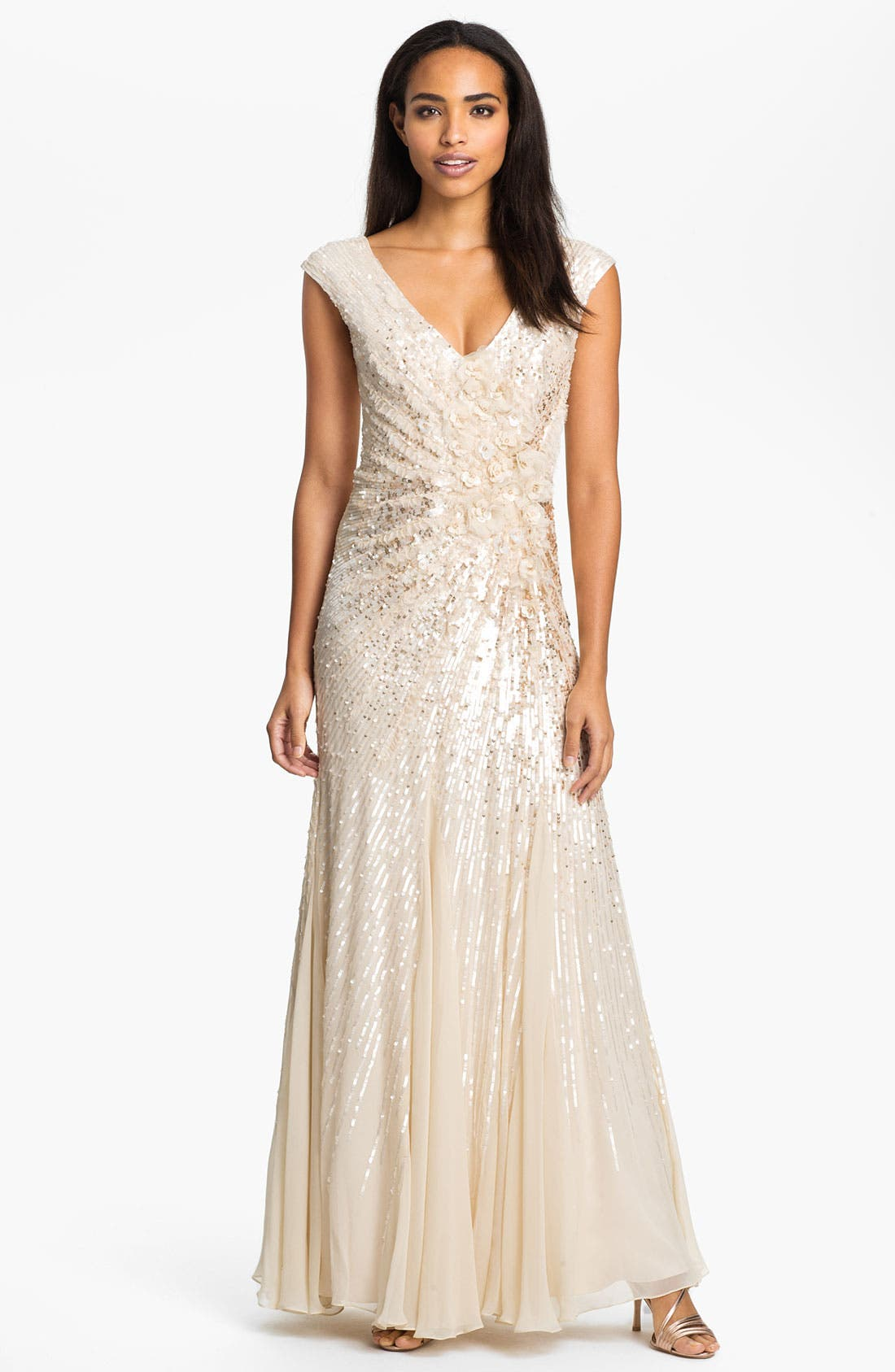 Main Image - Alberto Makali Embellished V-Back Silk Chiffon Gown