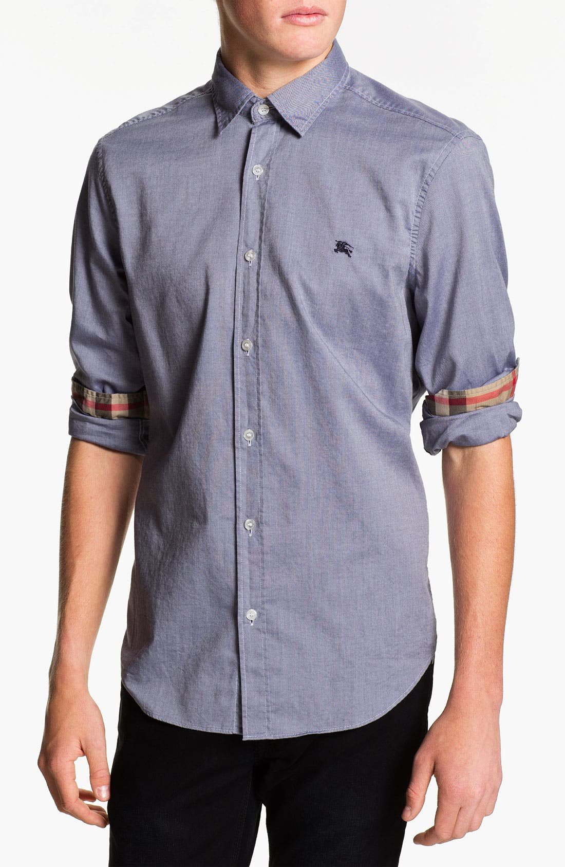 Main Image - Burberry Brit Trim Fit Chambray Sport Shirt