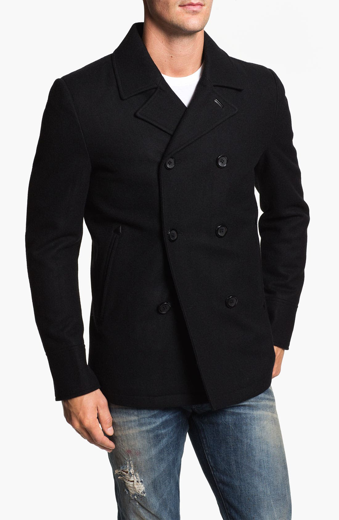 Main Image - Black Rivet Double Breasted Peacoat