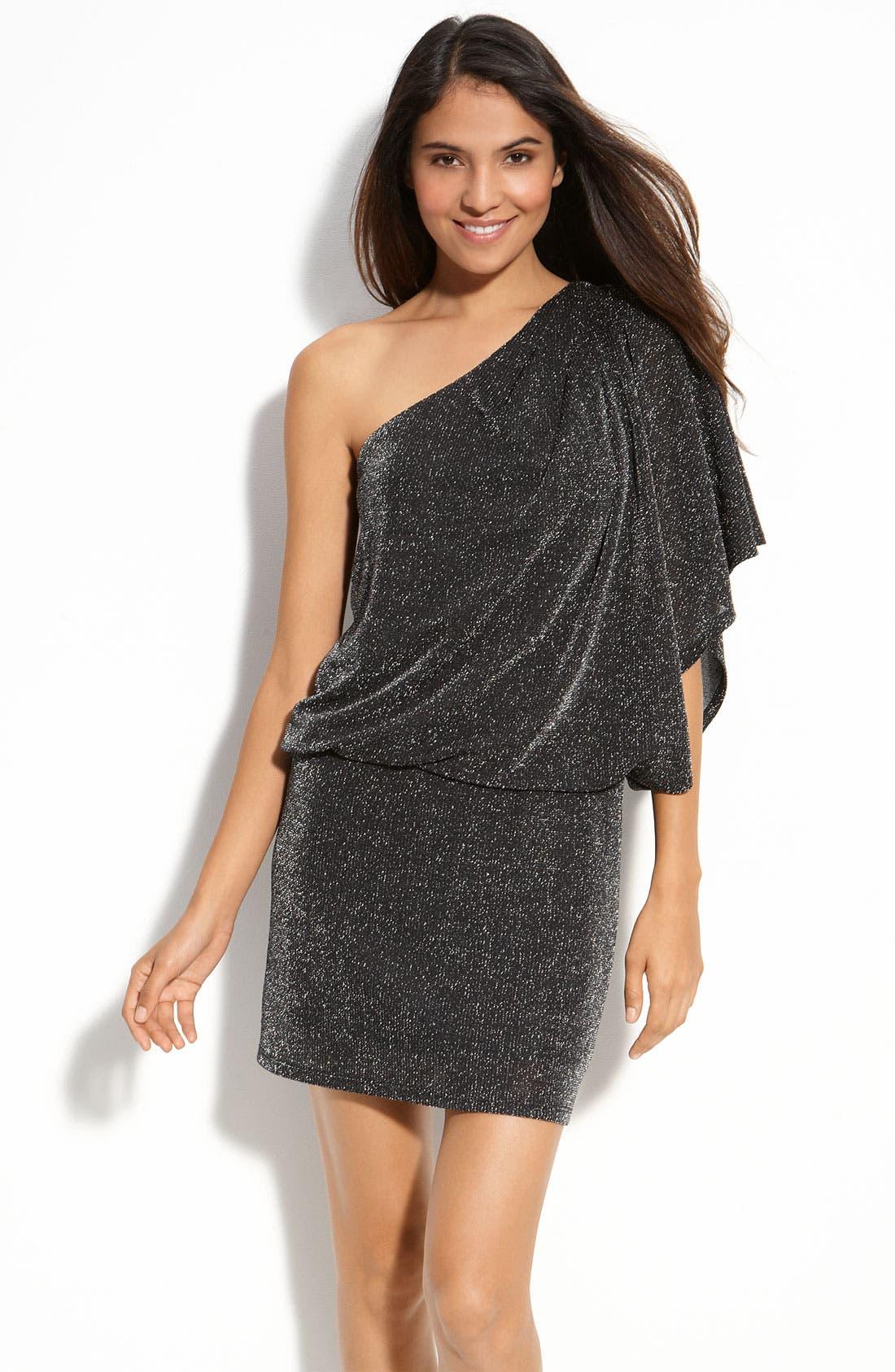 Alternate Image 1 Selected - JS Boutique Metallic Knit Dress (Petite)