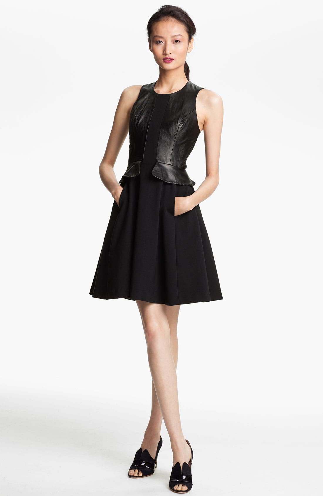 Main Image - Tracy Reese Leather Peplum Dress