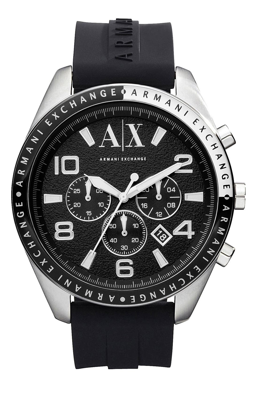 Main Image - AX Armani Exchange Round Silicone Strap Watch