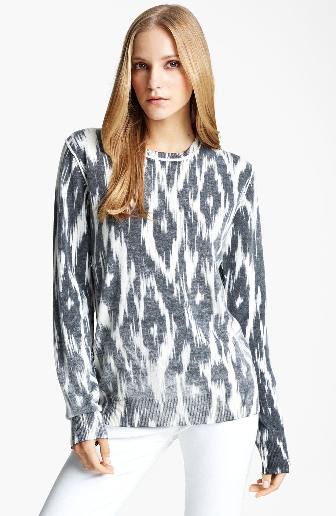 Alternate Image 1 Selected - Michael Kors Ikat Print Cashmere Pullover
