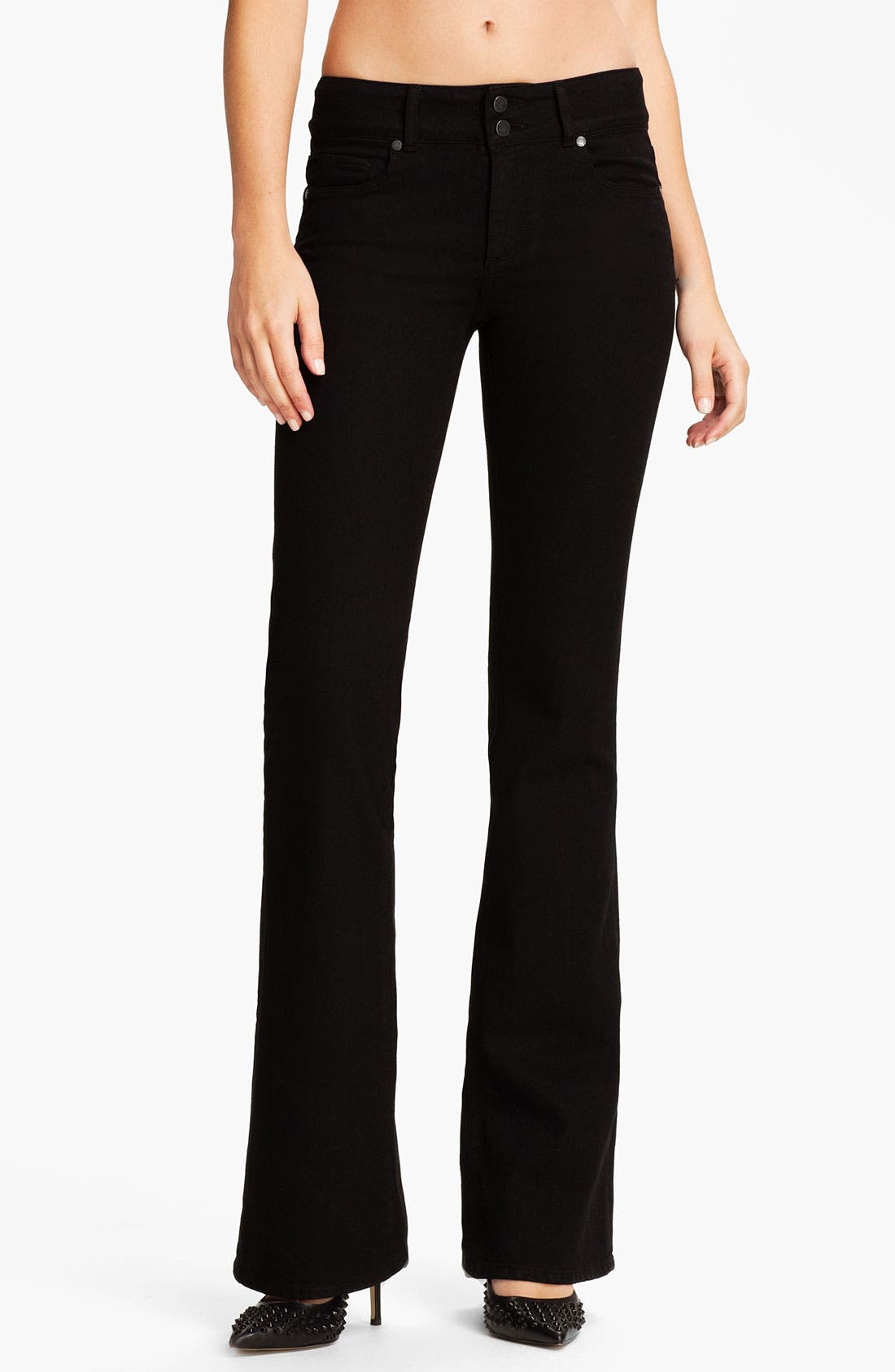 Alternate Image 1 Selected - Paige Denim 'Hidden Hills' Bootcut Stretch Jeans (Jet Black)