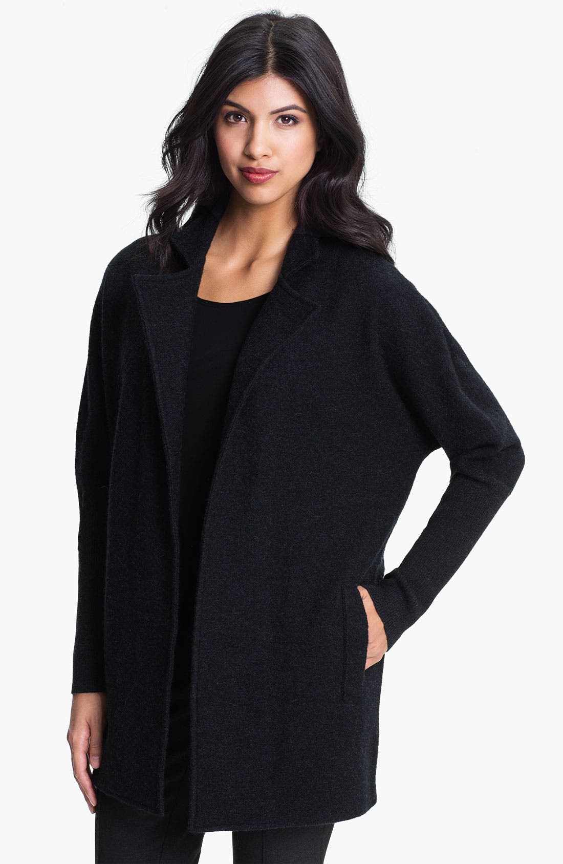 Alternate Image 1 Selected - Eileen Fisher Notch Collar Wool Blend Coat (Online Exclusive)