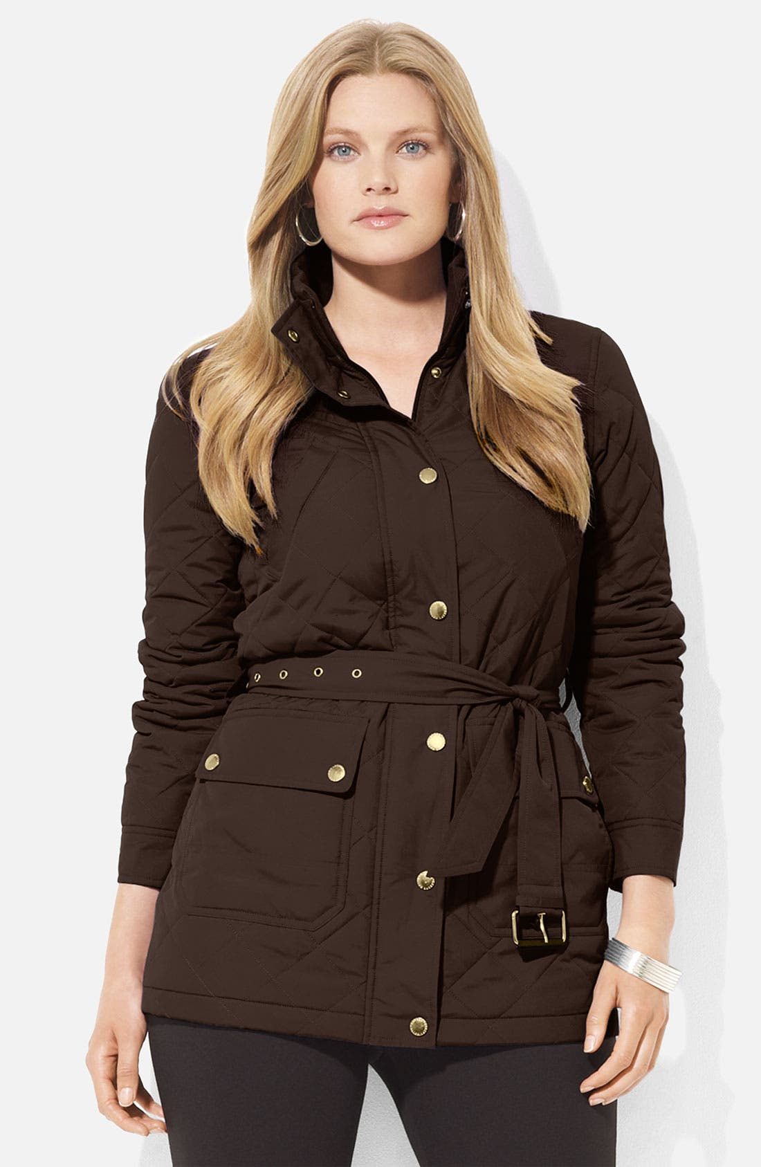 Alternate Image 1 Selected - Lauren Ralph Lauren Belted Snap Front Jacket (Plus)
