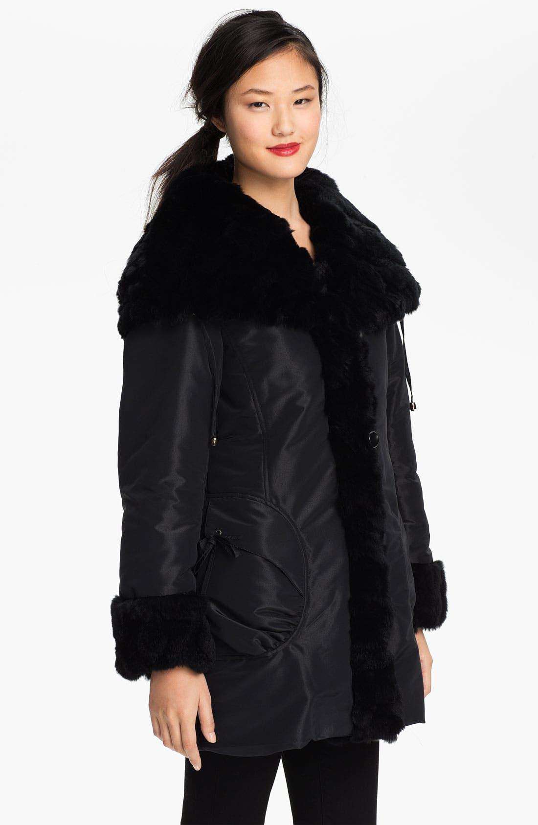 Alternate Image 2  - Jessica Wilde Storm Coat with Genuine Rabbit Fur