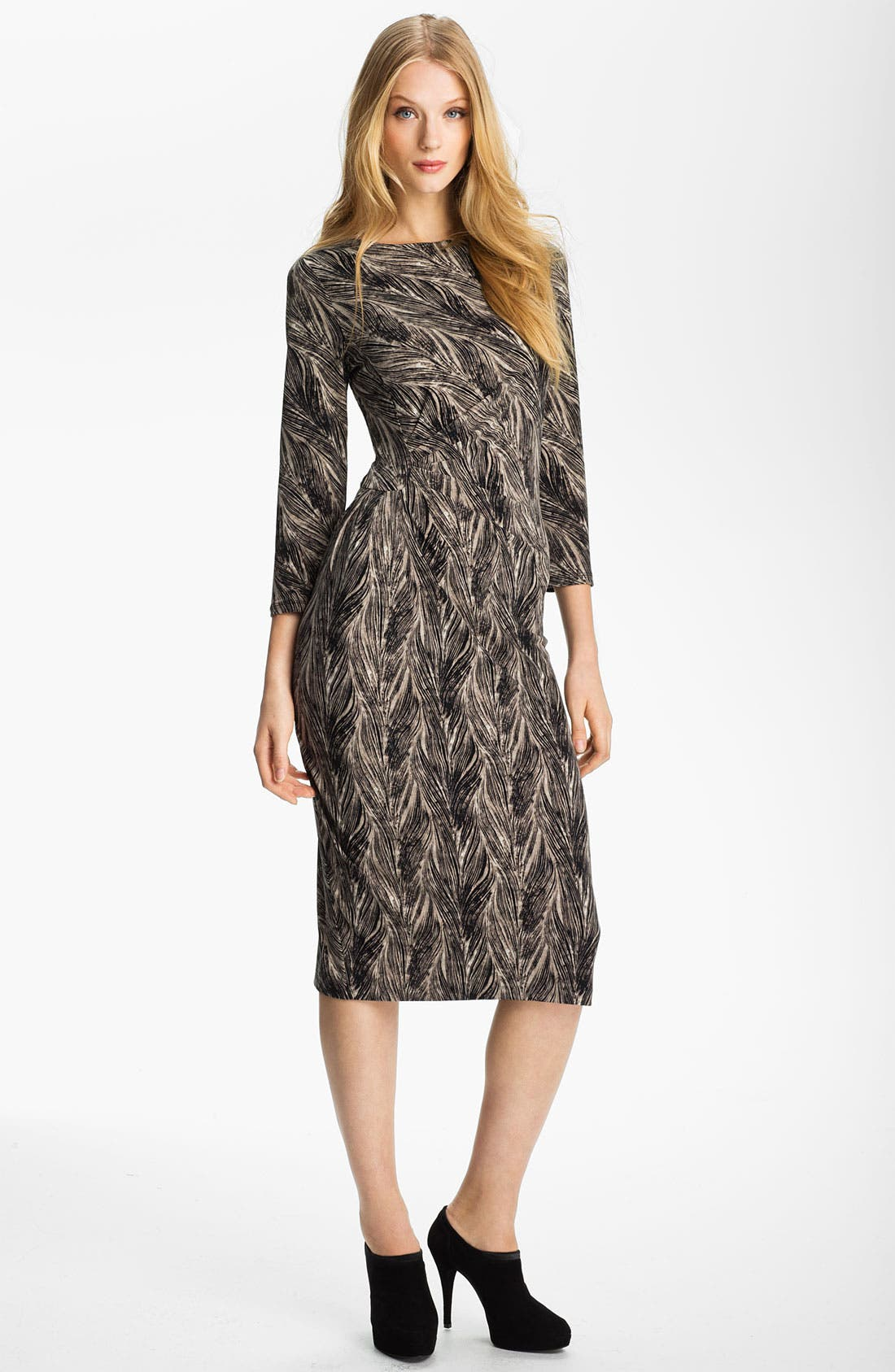 Alternate Image 1 Selected - Anne Klein Feather Print Dress (Petite)