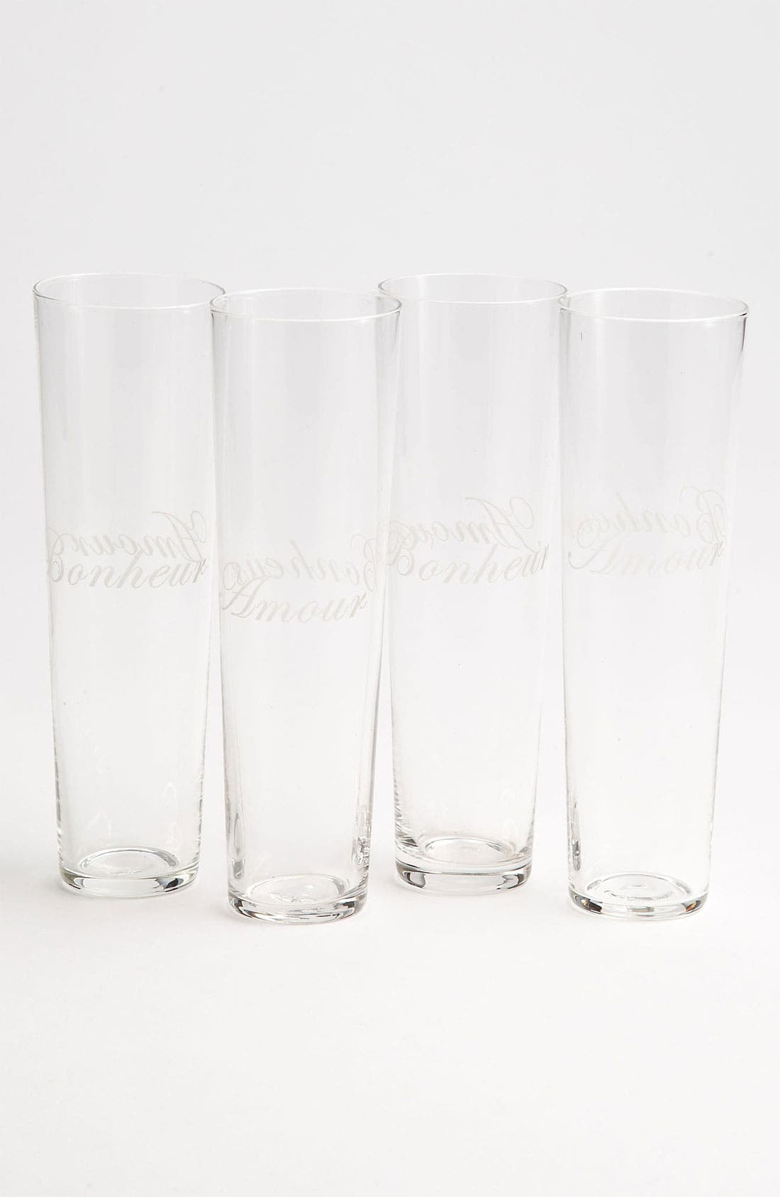 Alternate Image 1 Selected - 'Amour Bonheur' Etched Champagne Flutes (Set of 4)