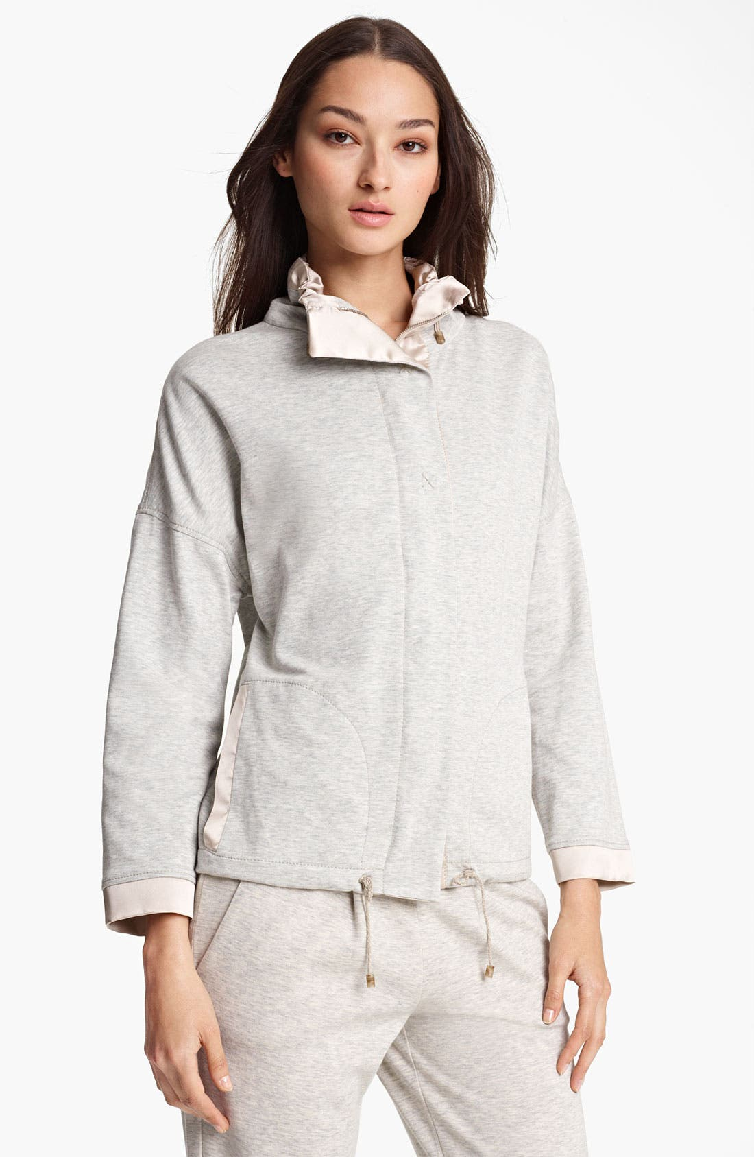 Main Image - Fabiana Filippi Zip Front Heathered Jersey Jacket