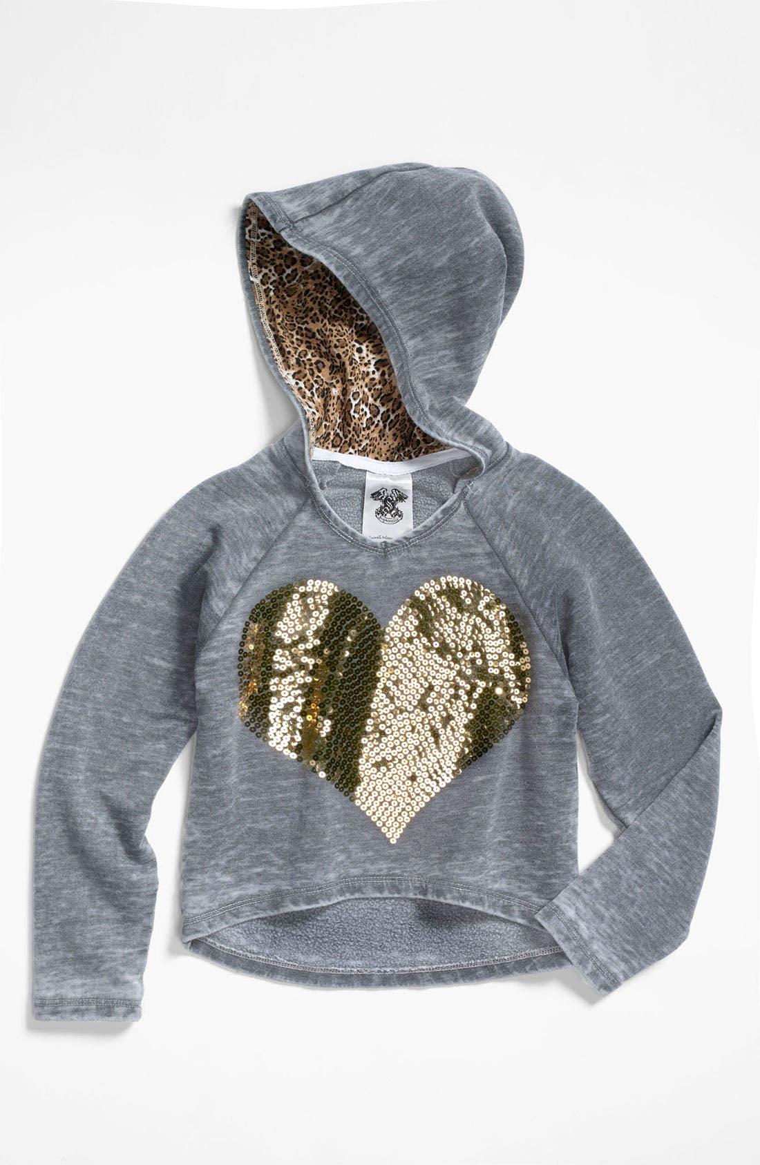 Main Image - Signorelli Sequin Heart Hoodie (Big Girls)