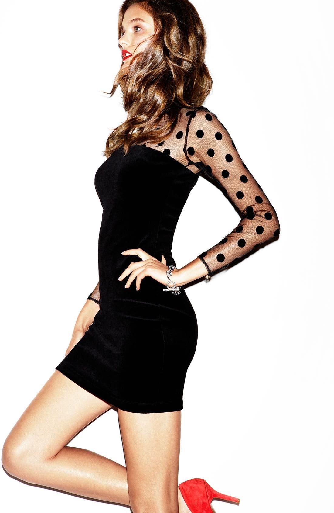Alternate Image 4  - Juicy Couture Sheer Polka Dot & Velvet Dress