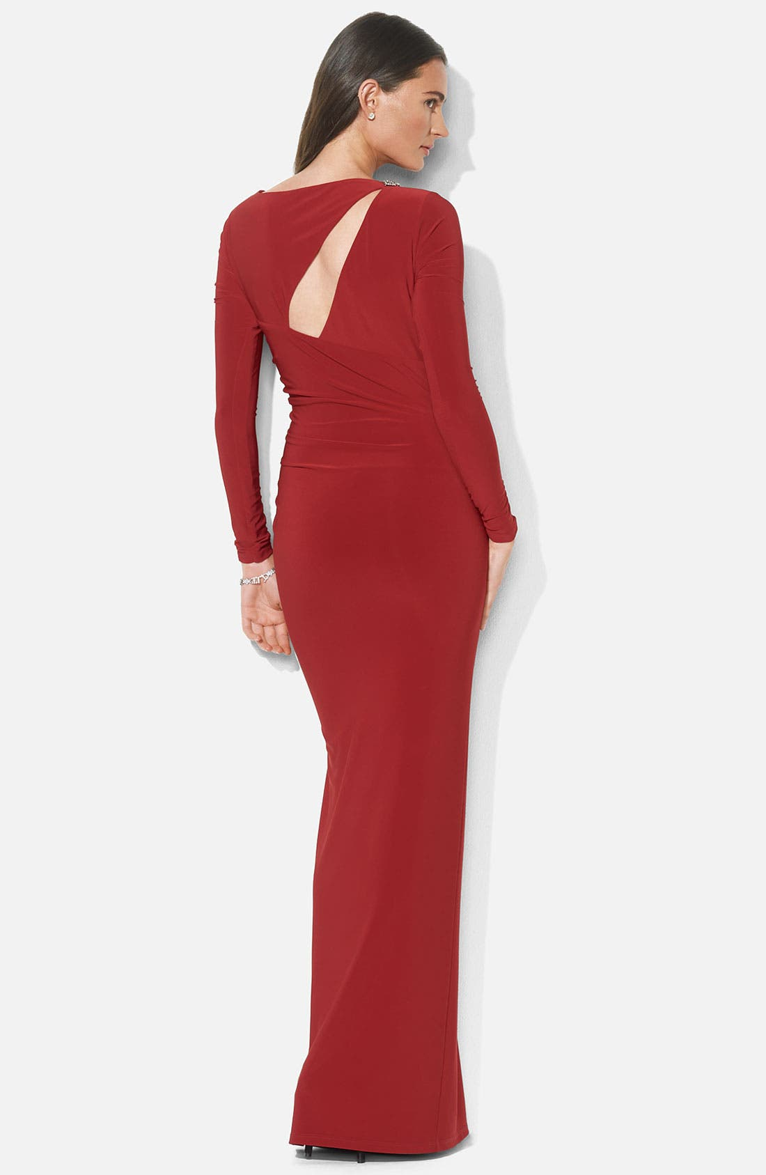 Alternate Image 2  - Lauren Ralph Lauren Asymmetrical Cutout Jersey Column Gown