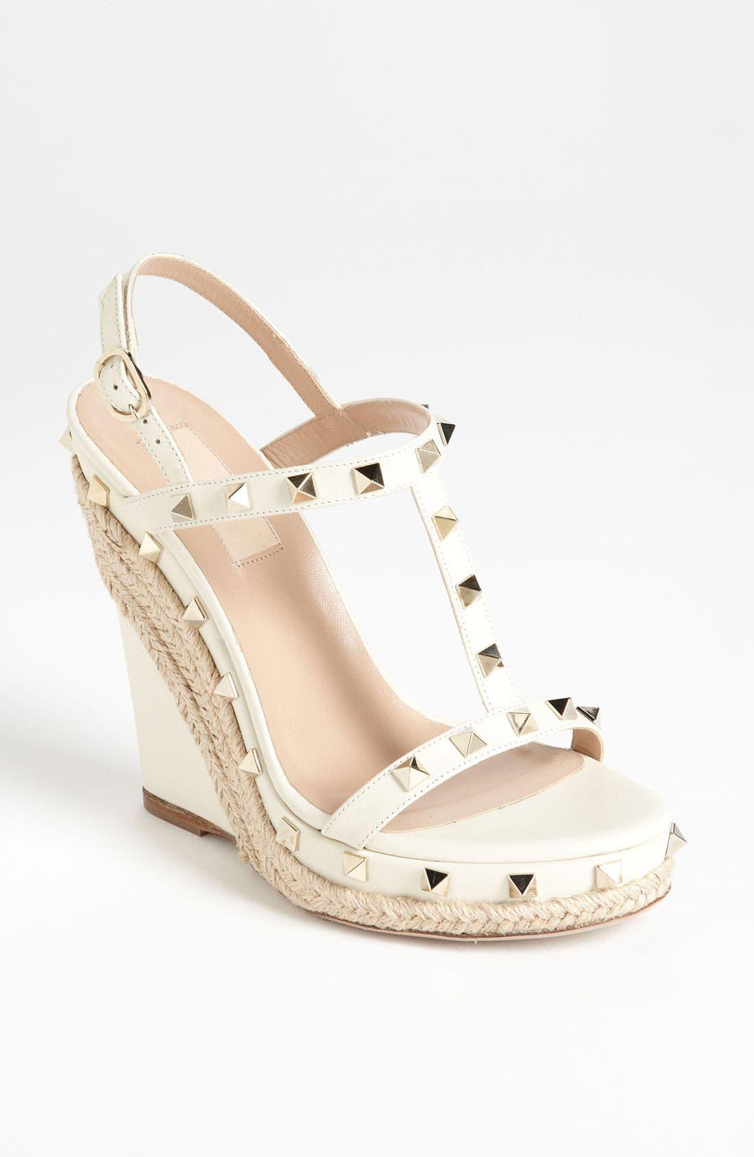 Main Image - Valentino 'Rockstud' Wedge Sandal