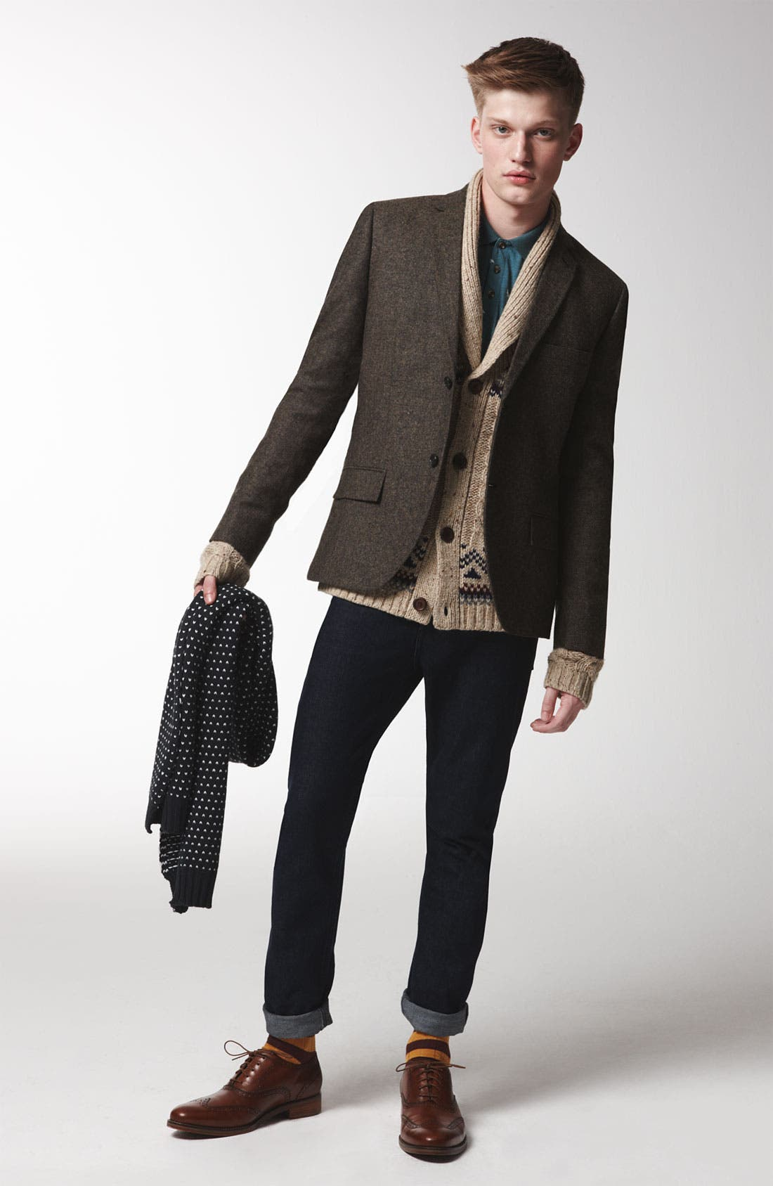 Alternate Image 2  - Topman Blazer, Shawl Collar Cardigan, Polo & Skinny Jeans