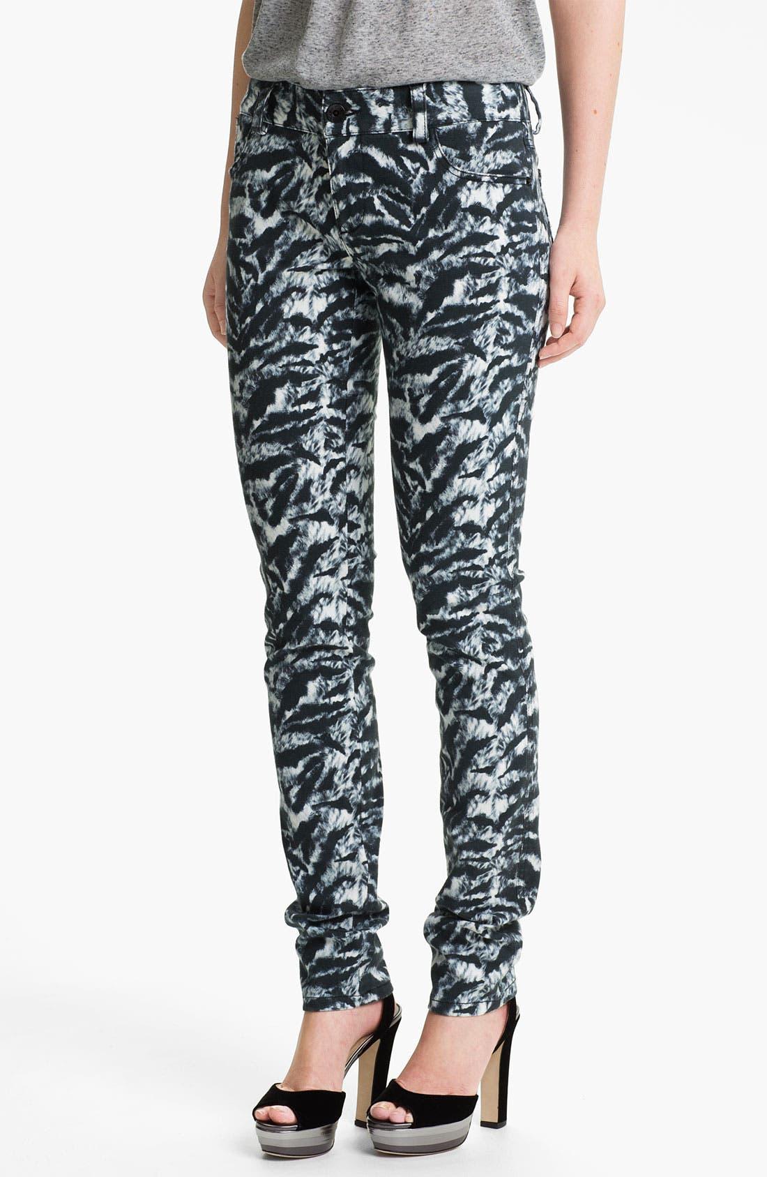 Main Image - Alice + Olivia Tiger Print Skinny Stretch Jeans