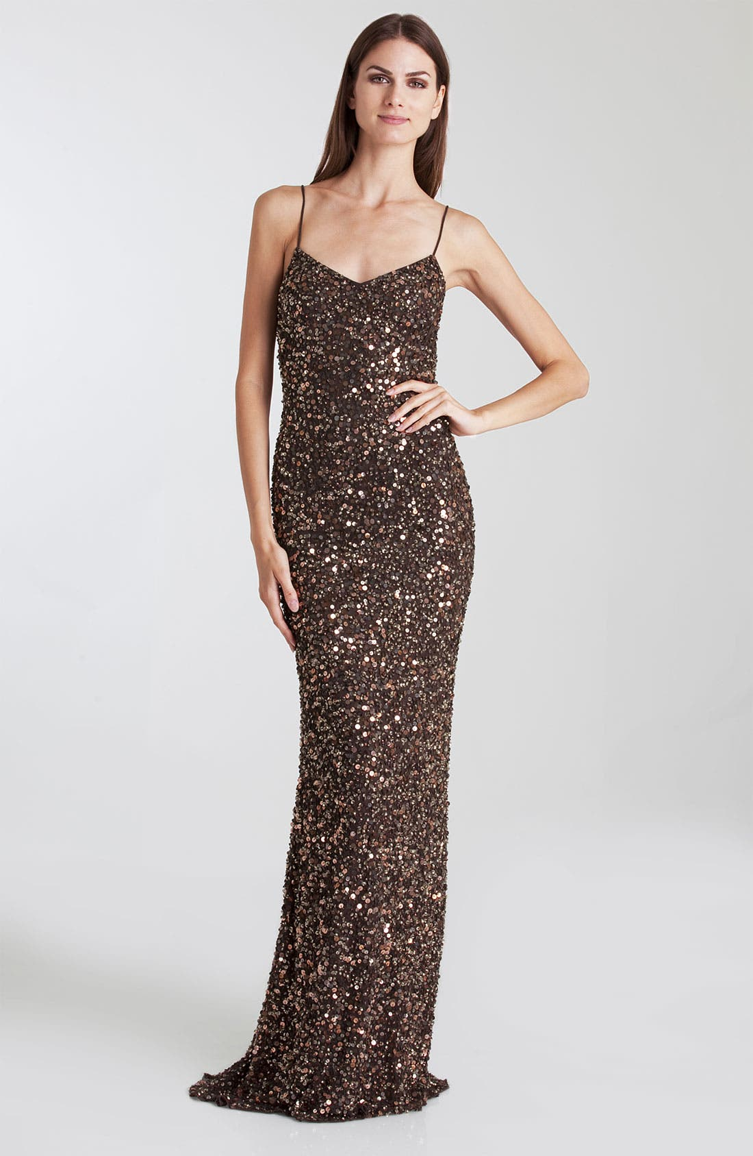 Alternate Image 1 Selected - JS Boutique Spaghetti Strap Sequin Mesh Gown