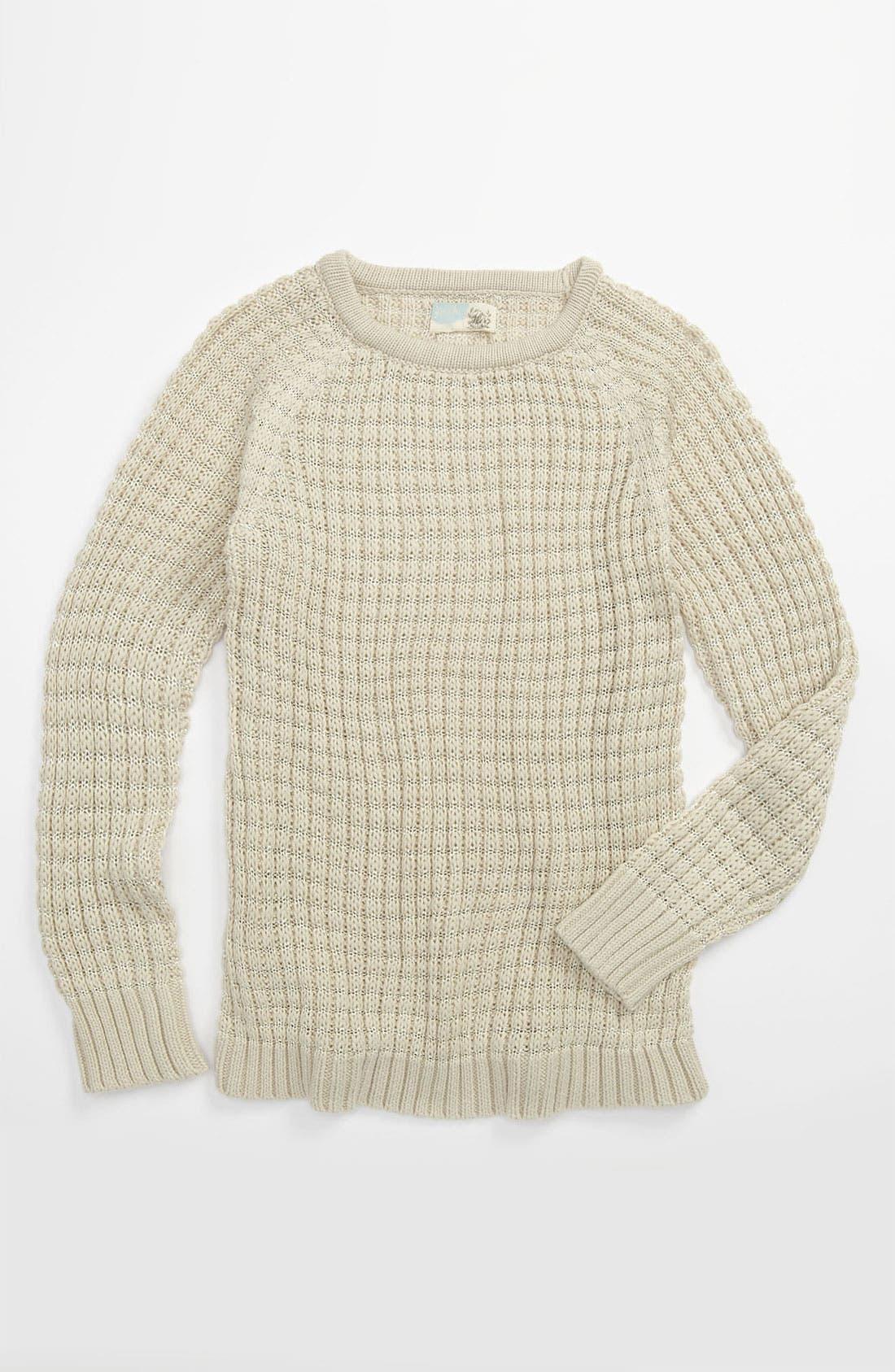 Main Image - Peek 'Tres' Sparkle Knit Crewneck Sweater (Toddler, Little Girls & Big Girls)