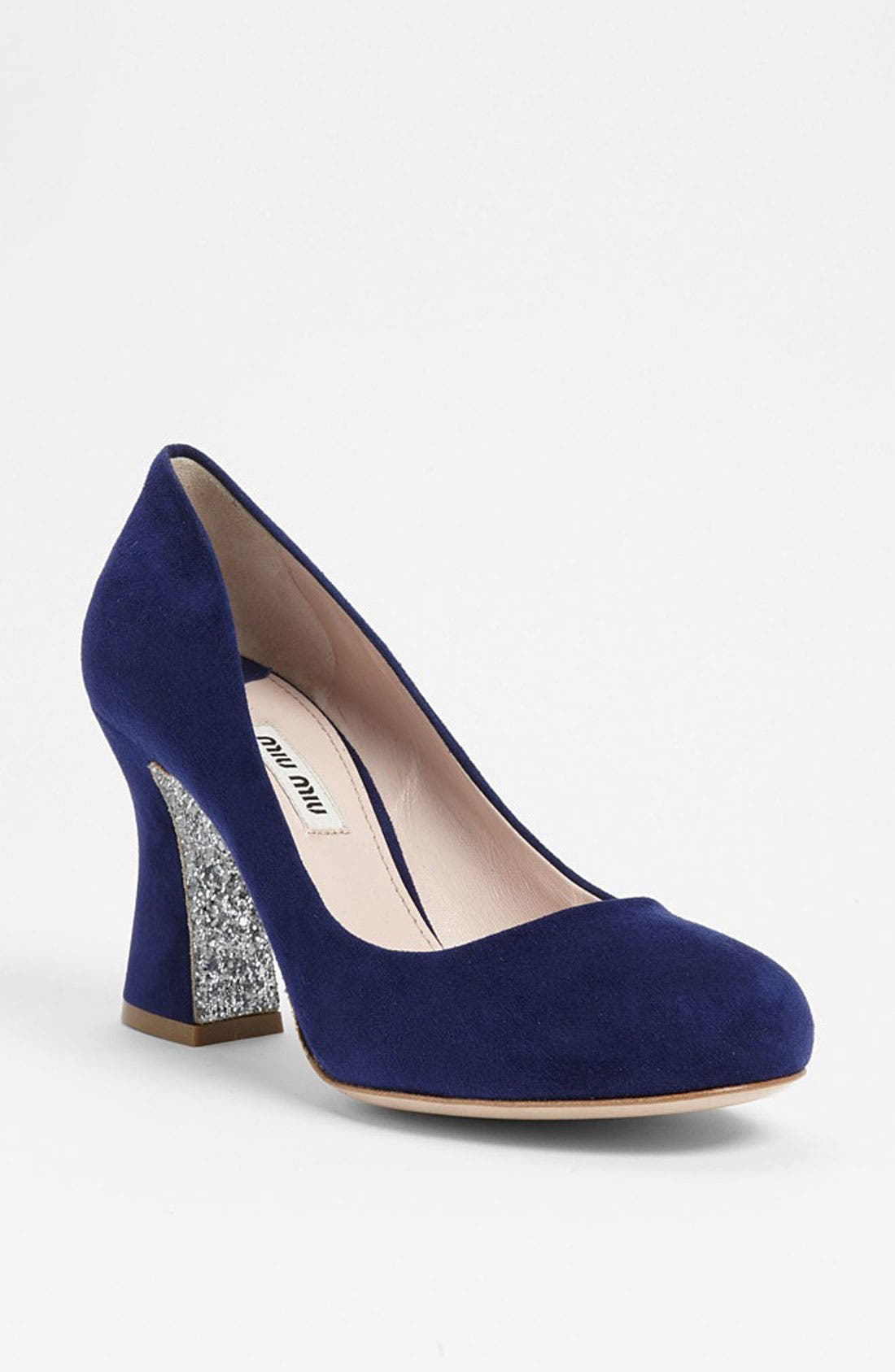 Alternate Image 1 Selected - Miu Miu Glitter Sole Block Heel Pump