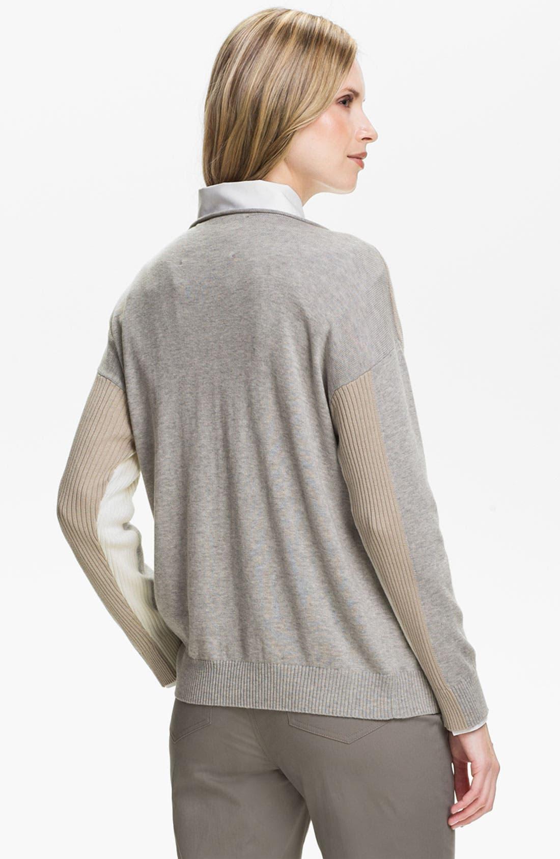 Alternate Image 2  - Lafayette 148 New York Intarsia Colorblock Sweater