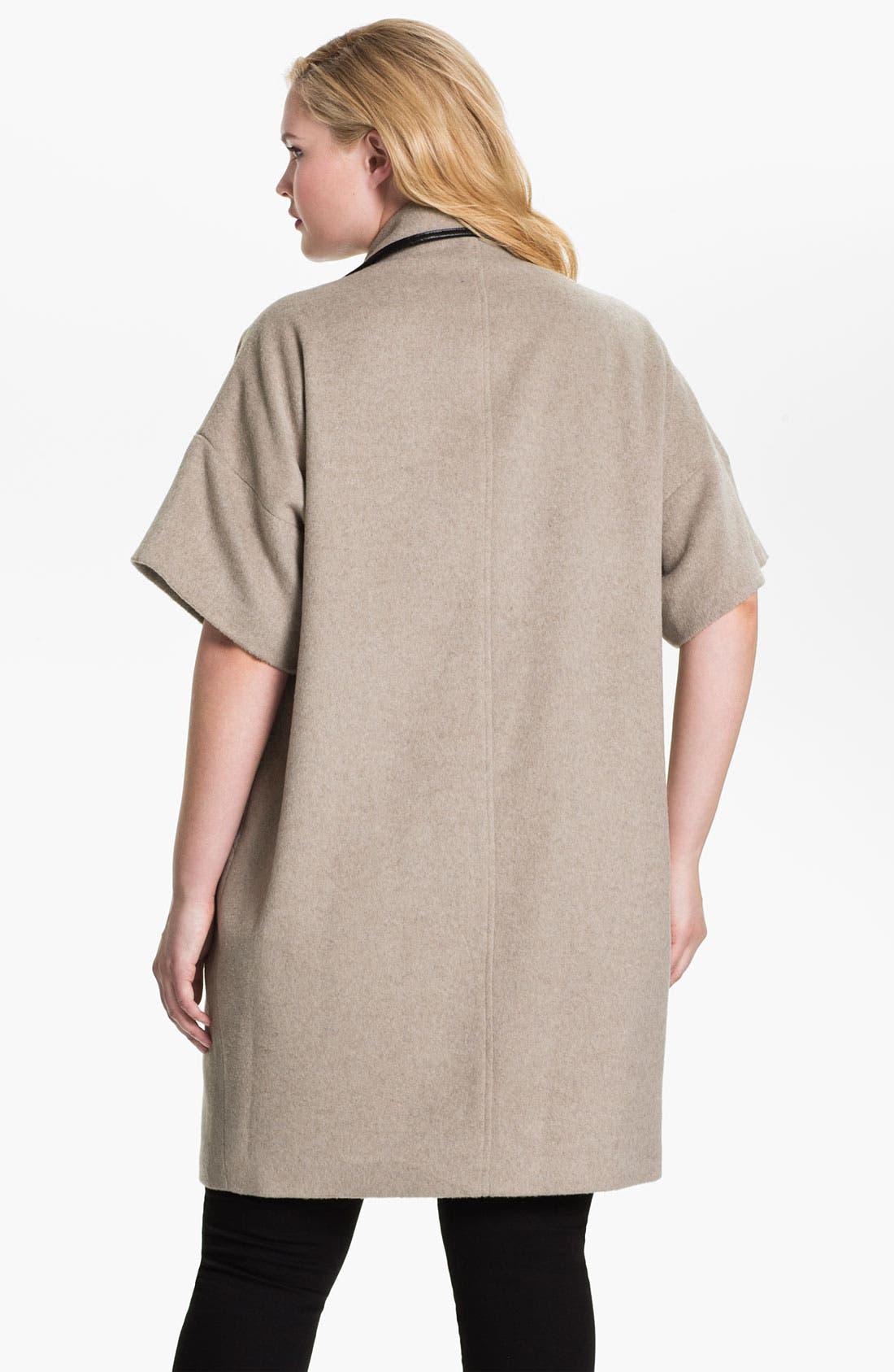 Alternate Image 2  - Evans Faux Leather Trim Toggle Coat (Plus Size)