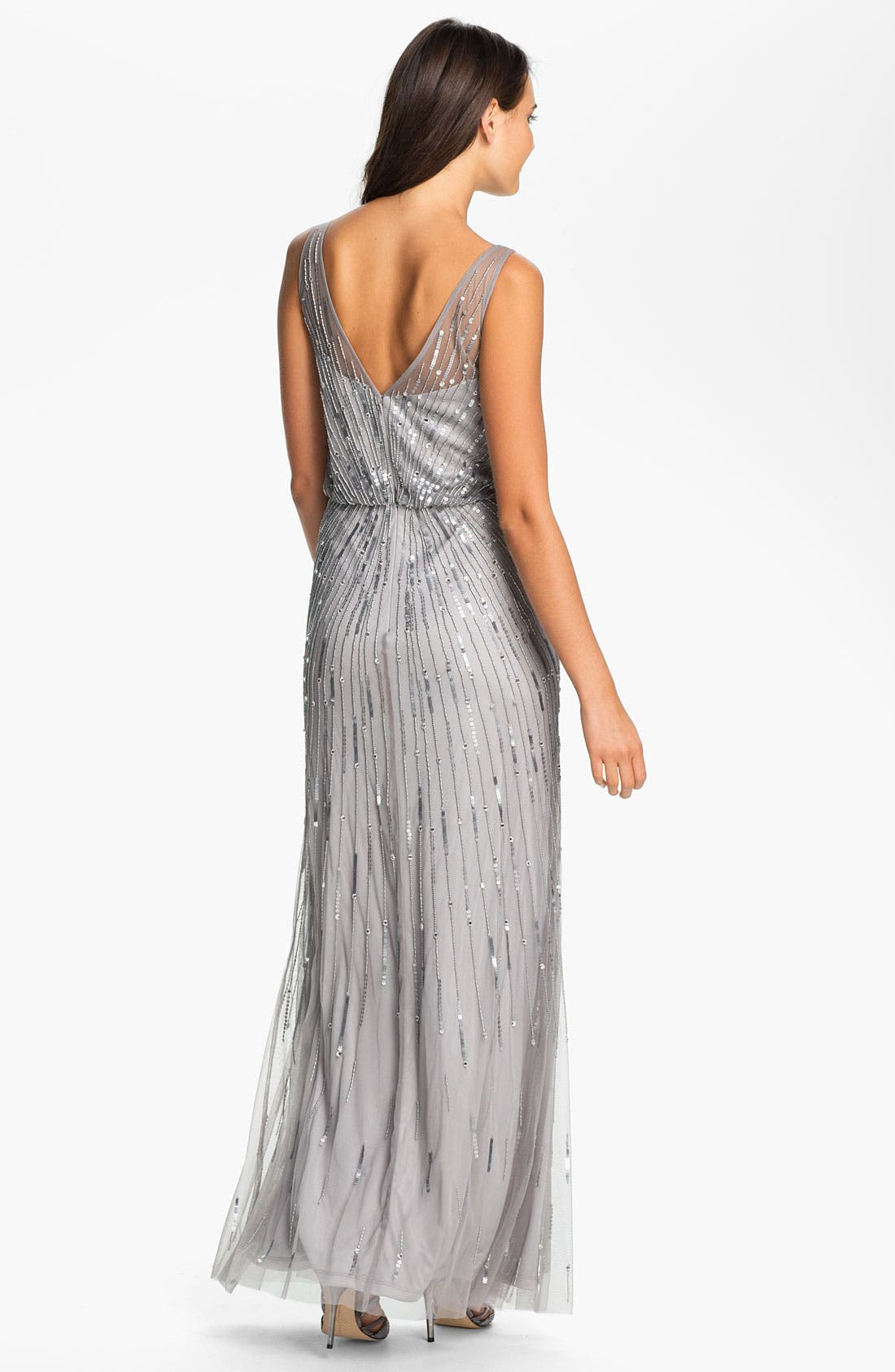 Alternate Image 2  - Aidan Mattox Illusion Yoke Sequin Mesh Gown (Online Only)