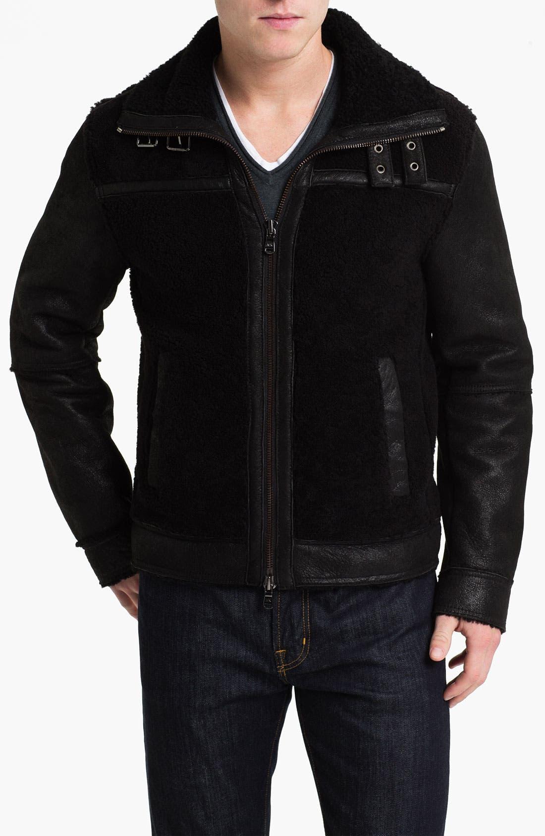 Alternate Image 1 Selected - Michael Kors Shearling Racer Jacket